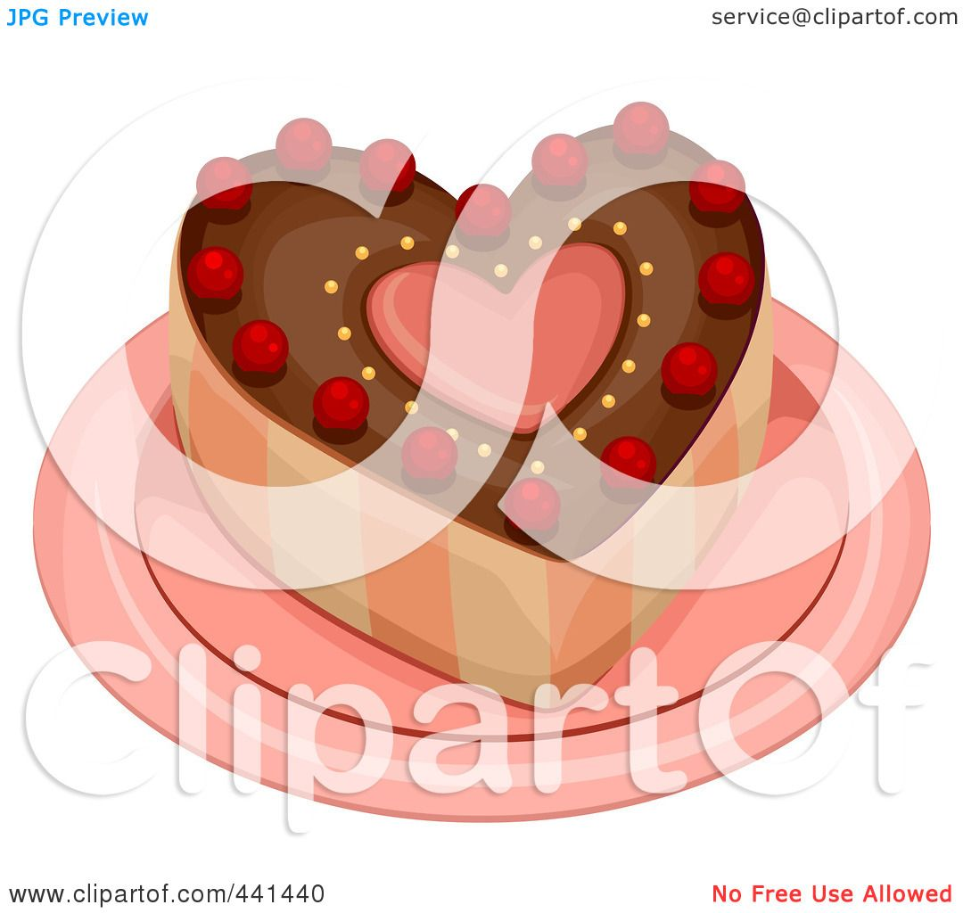 Royalty-Free (RF) Clip Art Illustration of a Heart Cake On ...