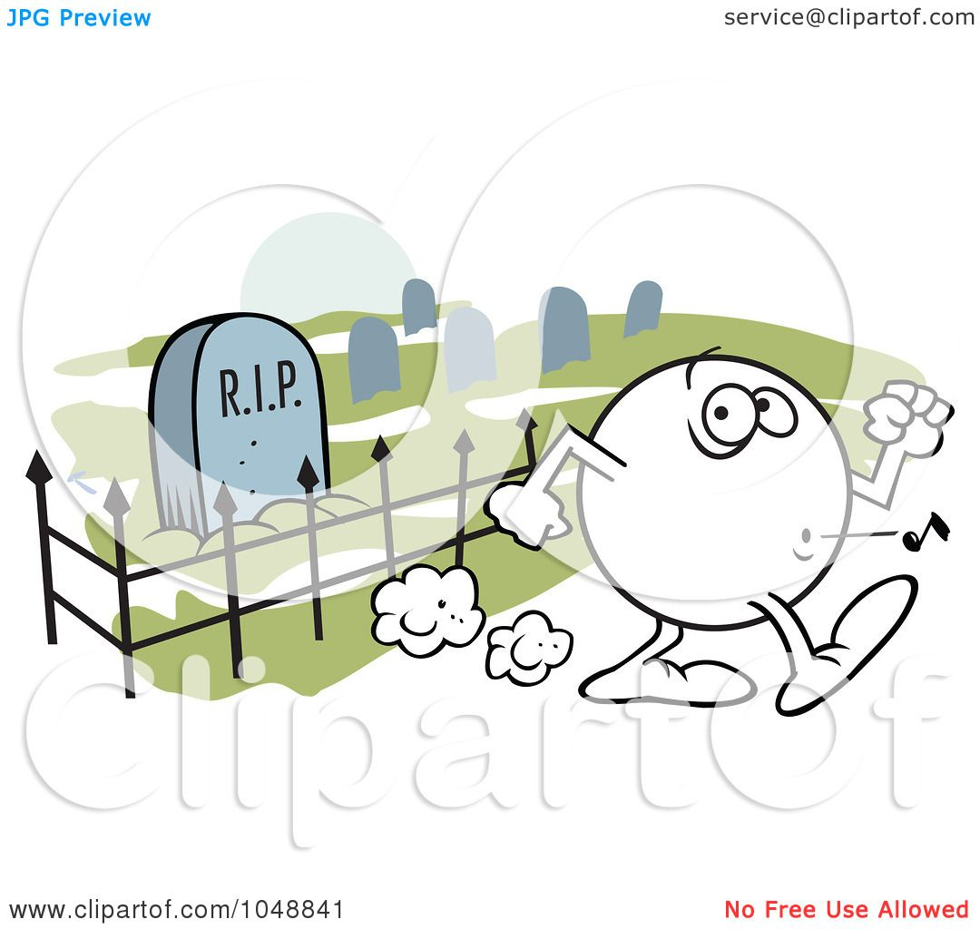 Royaltyfree (rf) Clip Art Illustration Of A Moodie Character Whistling Past  A Graveyard By Johnny Sajem