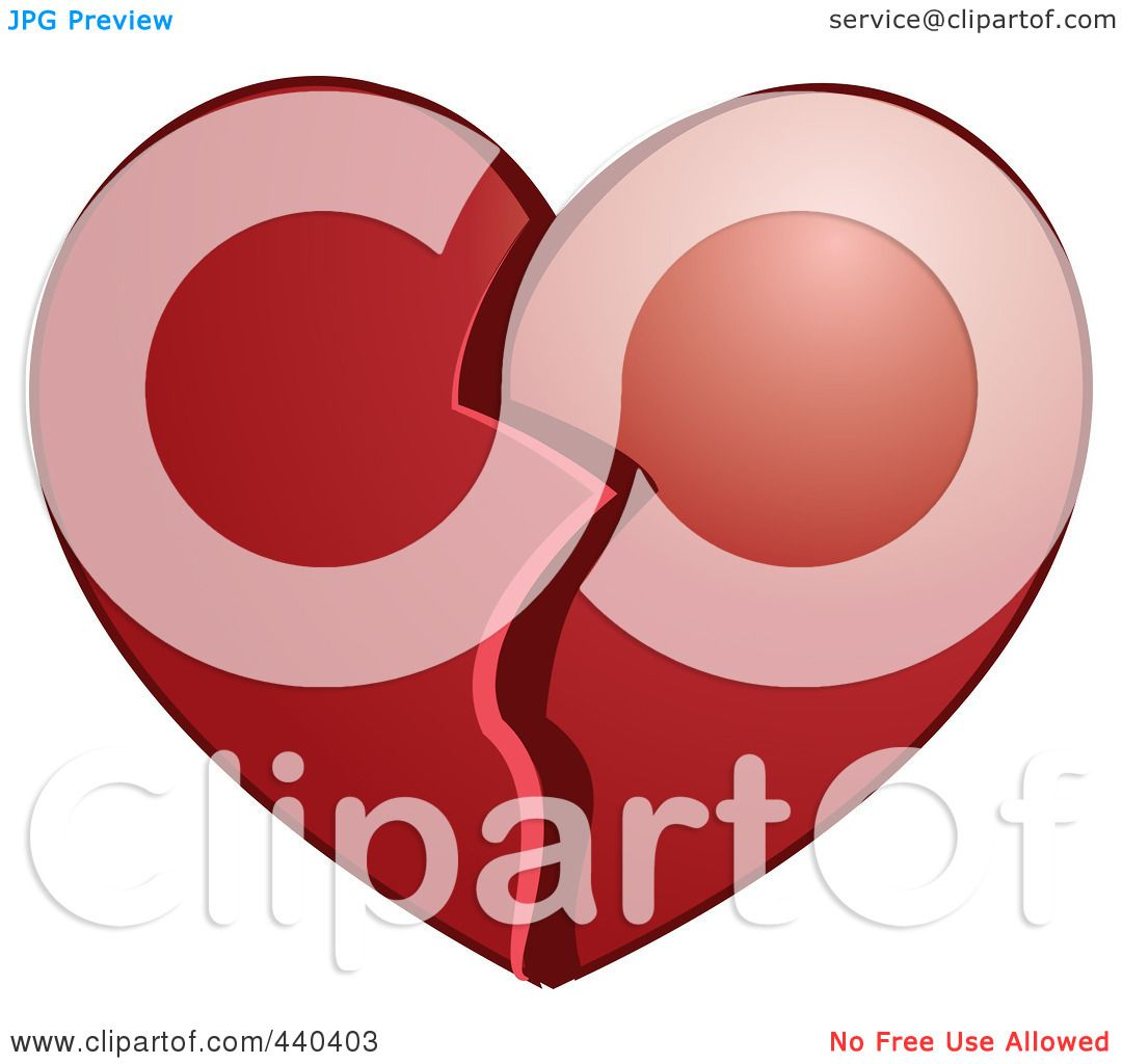 Royalty-Free (RF) Clip Art Illustration of a Plump Broken Heart by ...