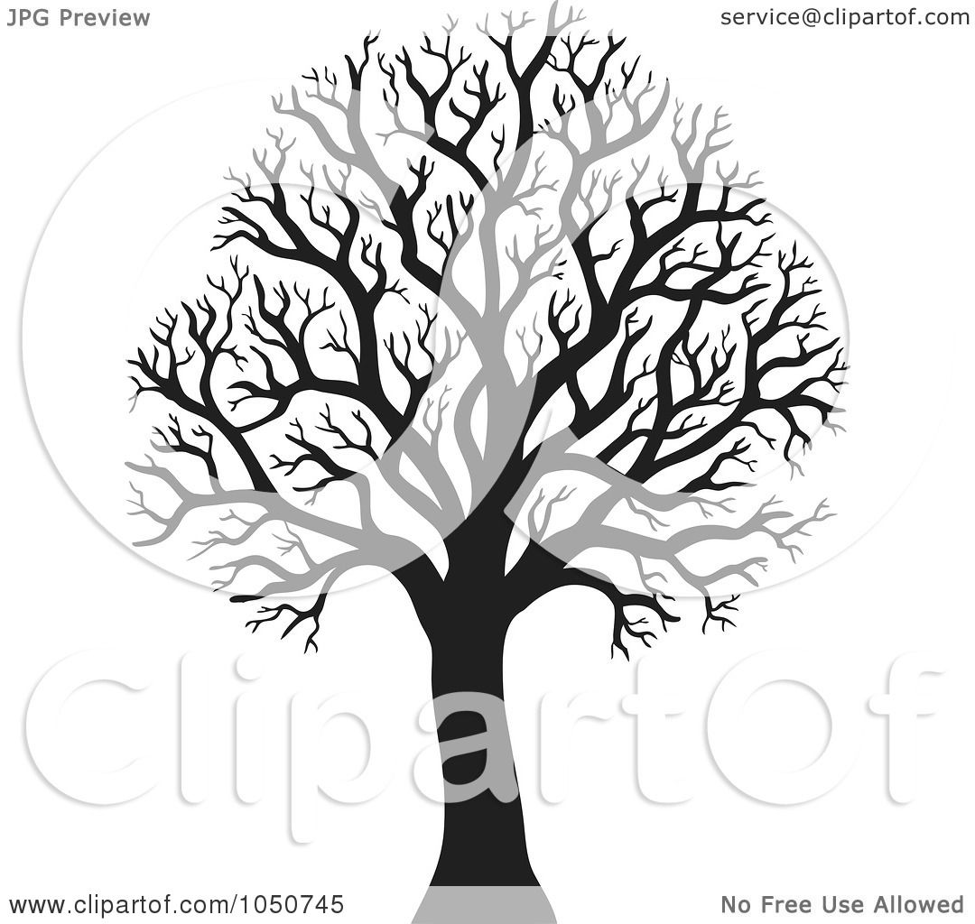 Royalty-Free (RF) Clip Art Illustration of a Silhouetted Bare ...