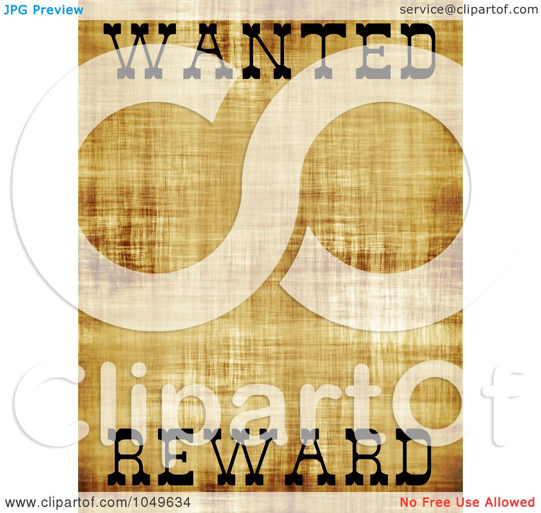Royalty Free RF Clip Art Illustration Of An Old Wanted Poster With Copy  Space And The