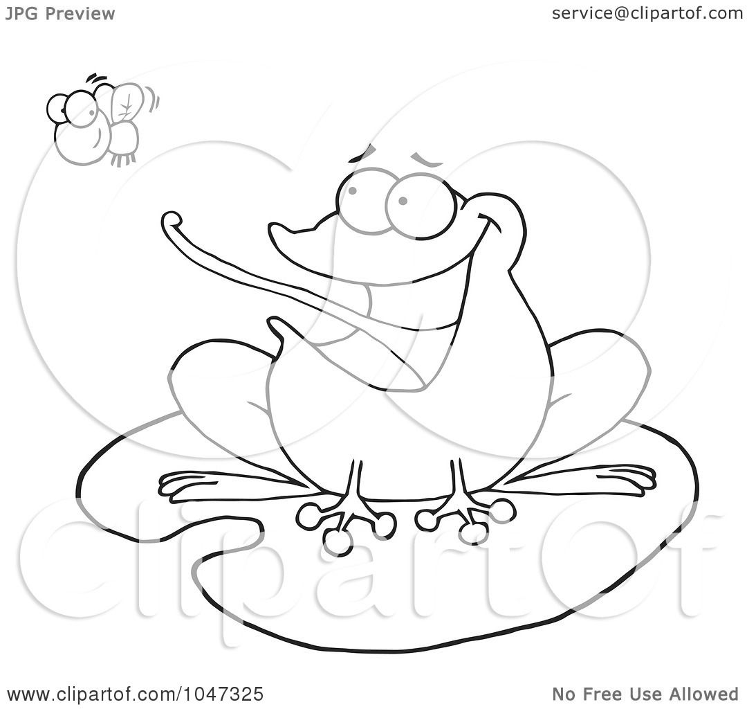 Flying Frog Drawing Outlined Frog on a Lilypad