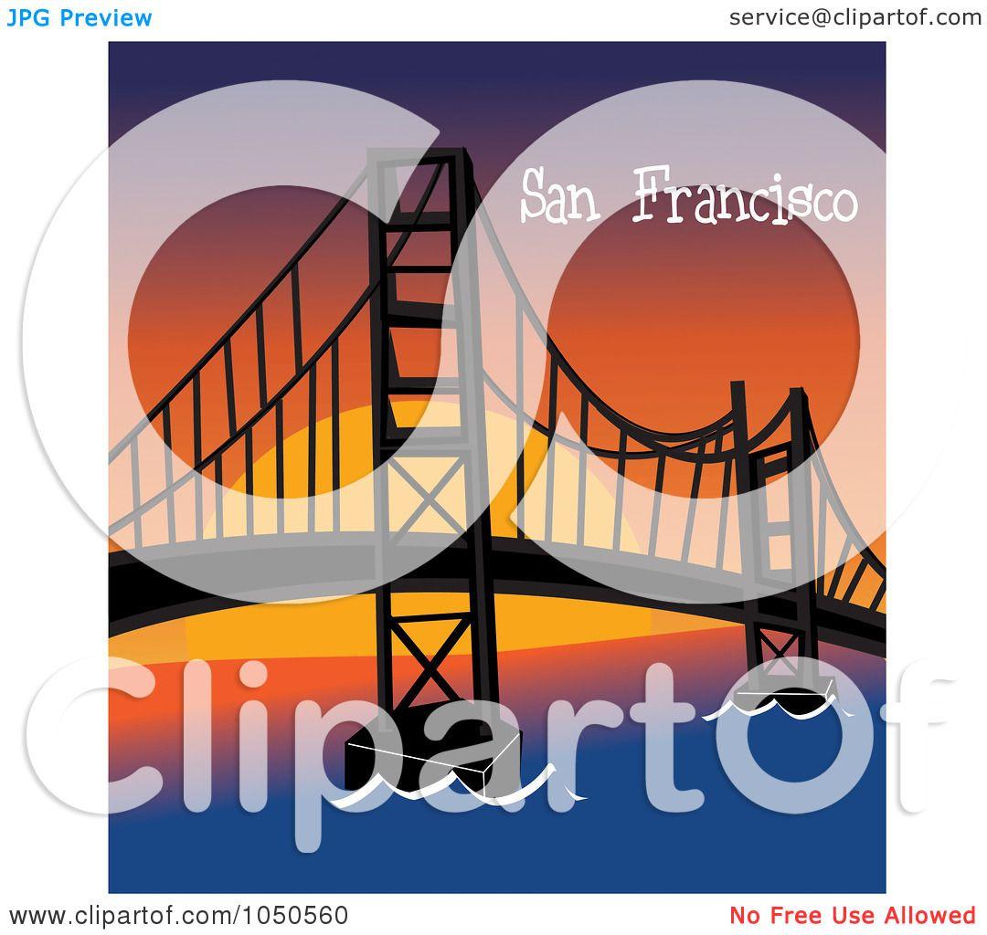 Golden Gate Bridge San Francisco California Sunset Picture: Royalty-Free (RF) Clip Art Illustration Of The Golden Gate