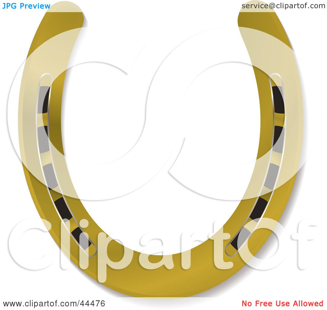 Royalty free rf clip art of a shiny new 3d gold horseshoe by