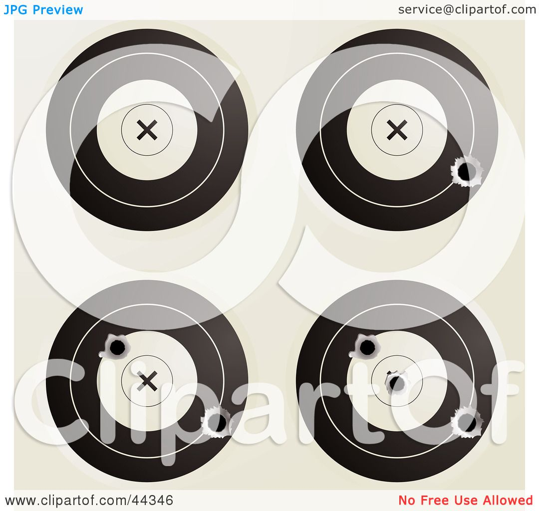 Royalty-free (RF) Clip Art Of Assorted Targets With Bullet Holes ...