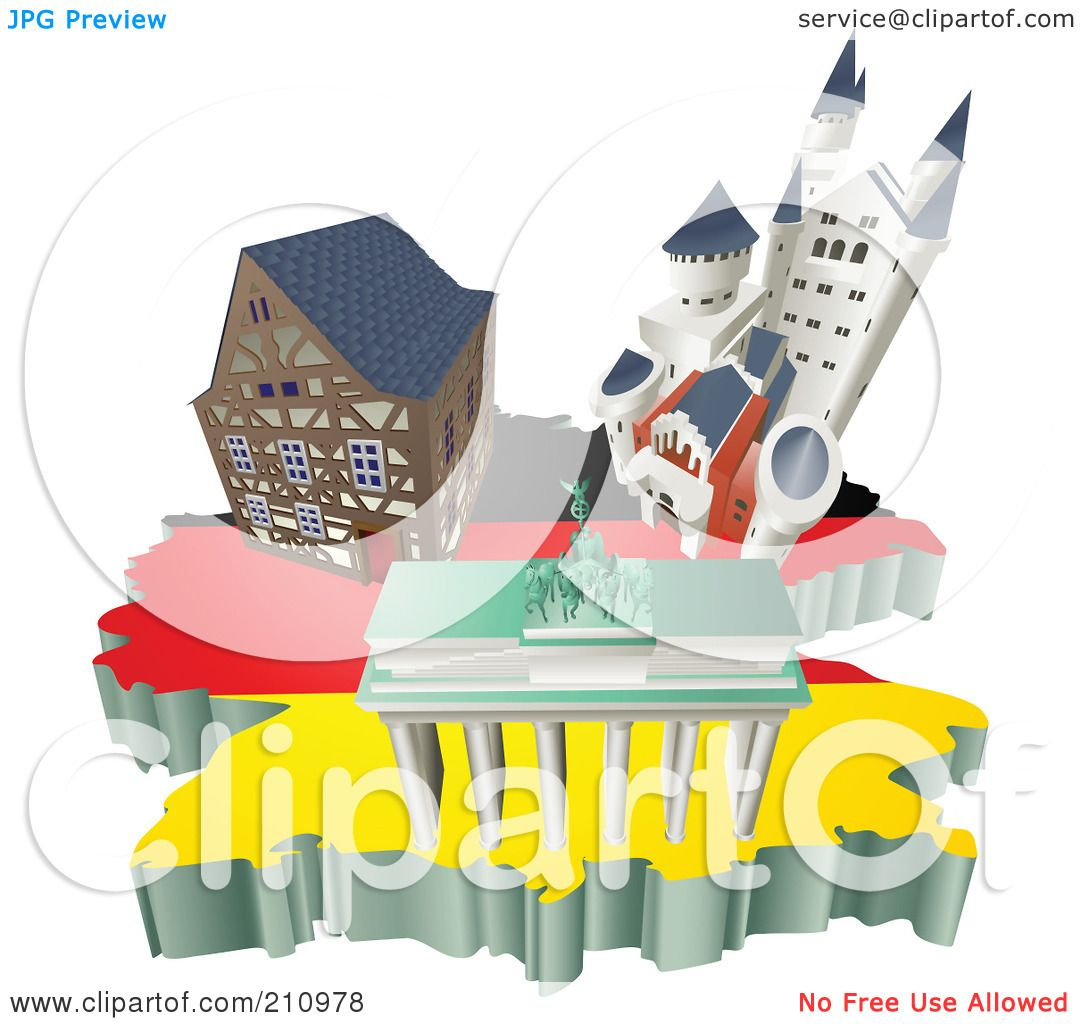 RoyaltyFree RF Clipart Illustration of 3d German Tourist – Germany Tourist Attractions Map