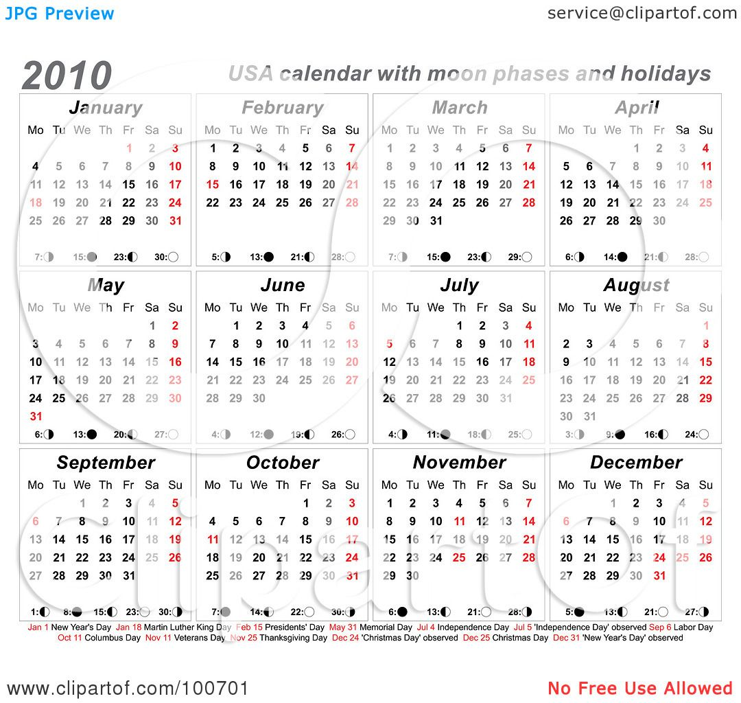 Calendar Showing May : Royalty free rf clipart illustration of a usa