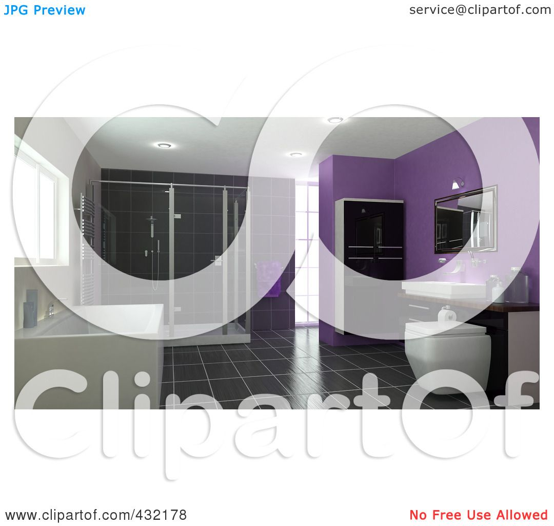 royalty-free (rf) clipart illustration of a 3d bathroom interior