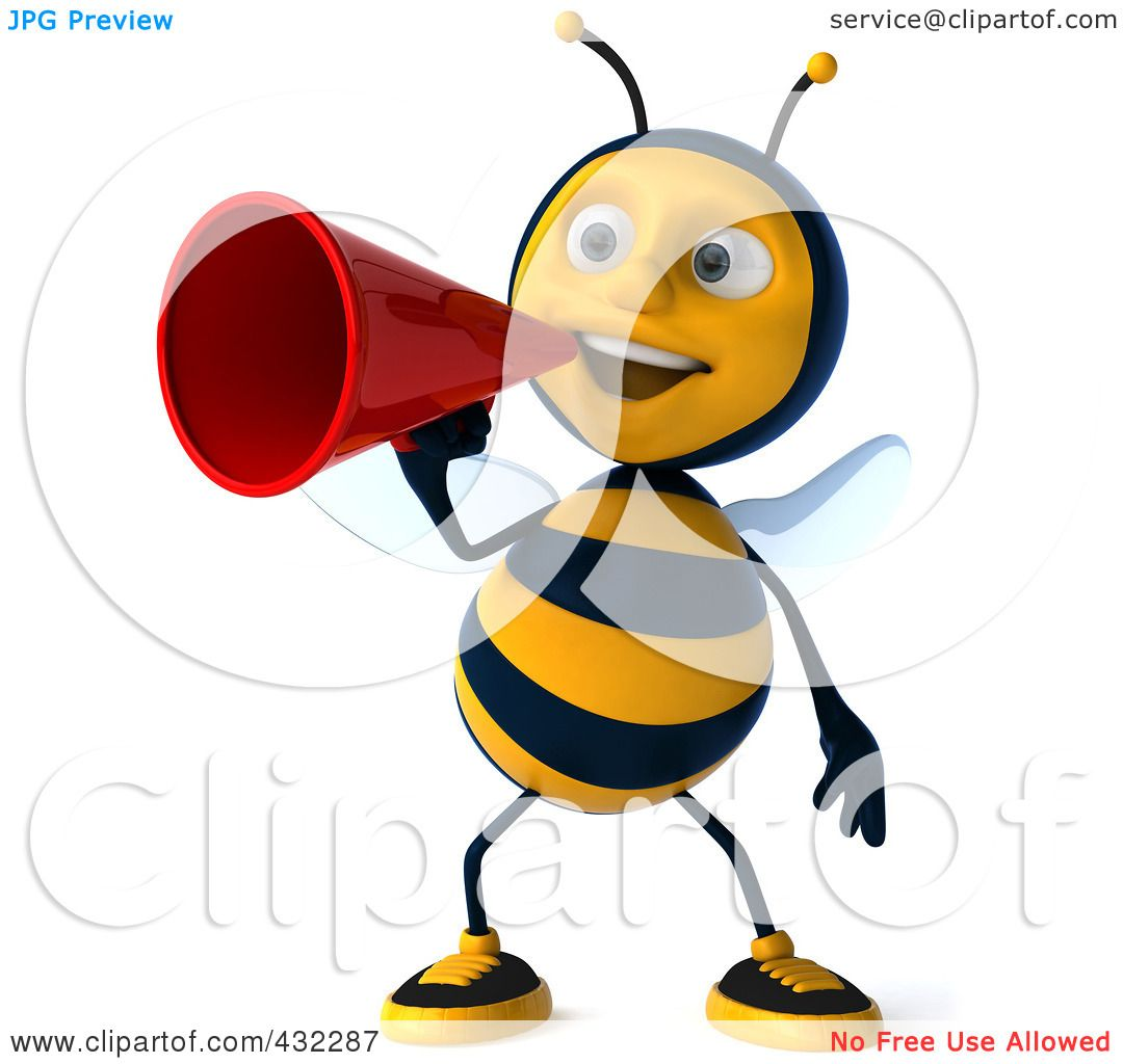 royalty free rf clipart illustration of a 3d bee character making rh clipartof com  free announcement clipart images