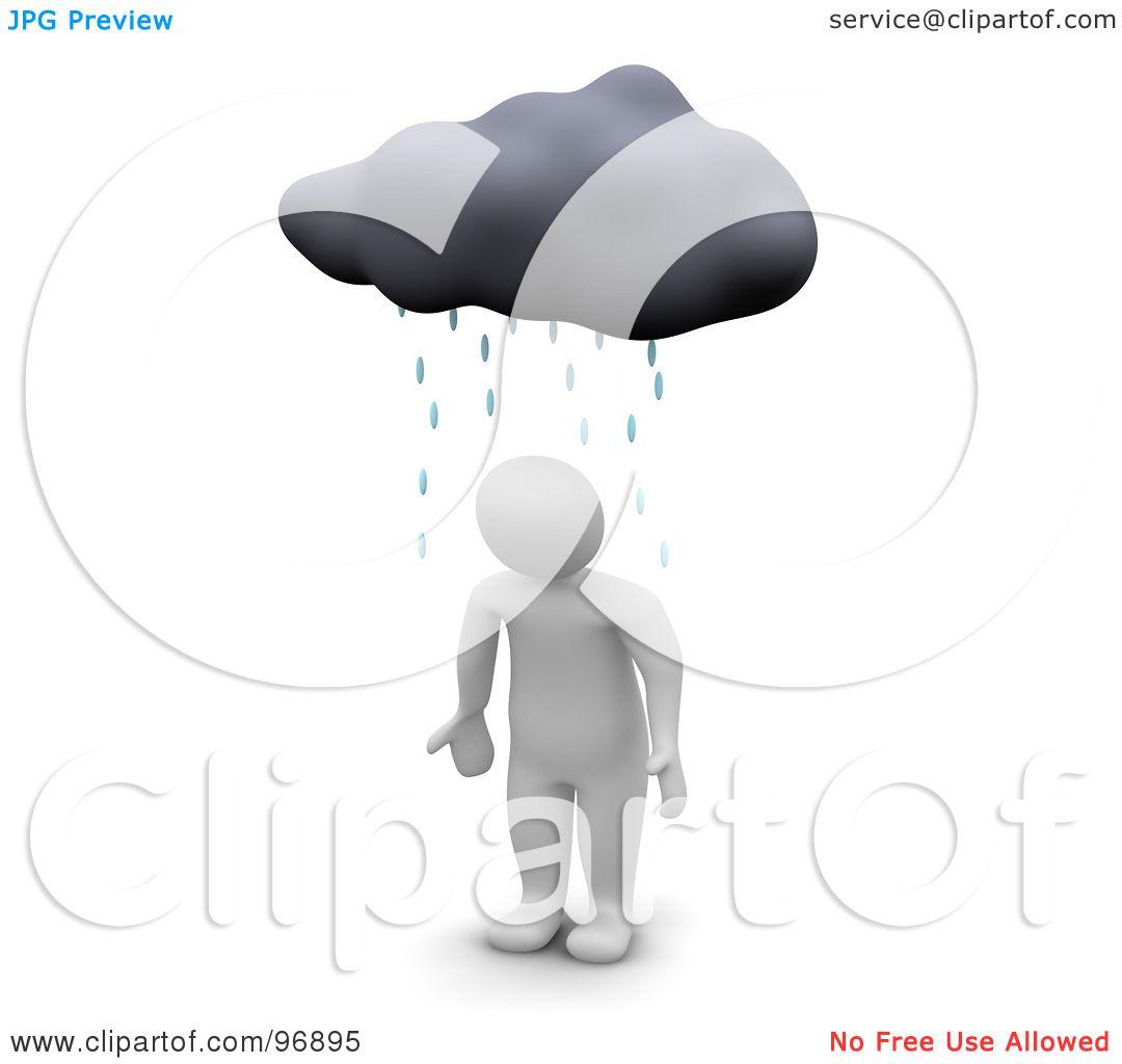 Royalty-Free (RF) Clipart Illustration of a 3d Blanco Man Standing Helpless Under A Rain Cloud by Jiri Moucka