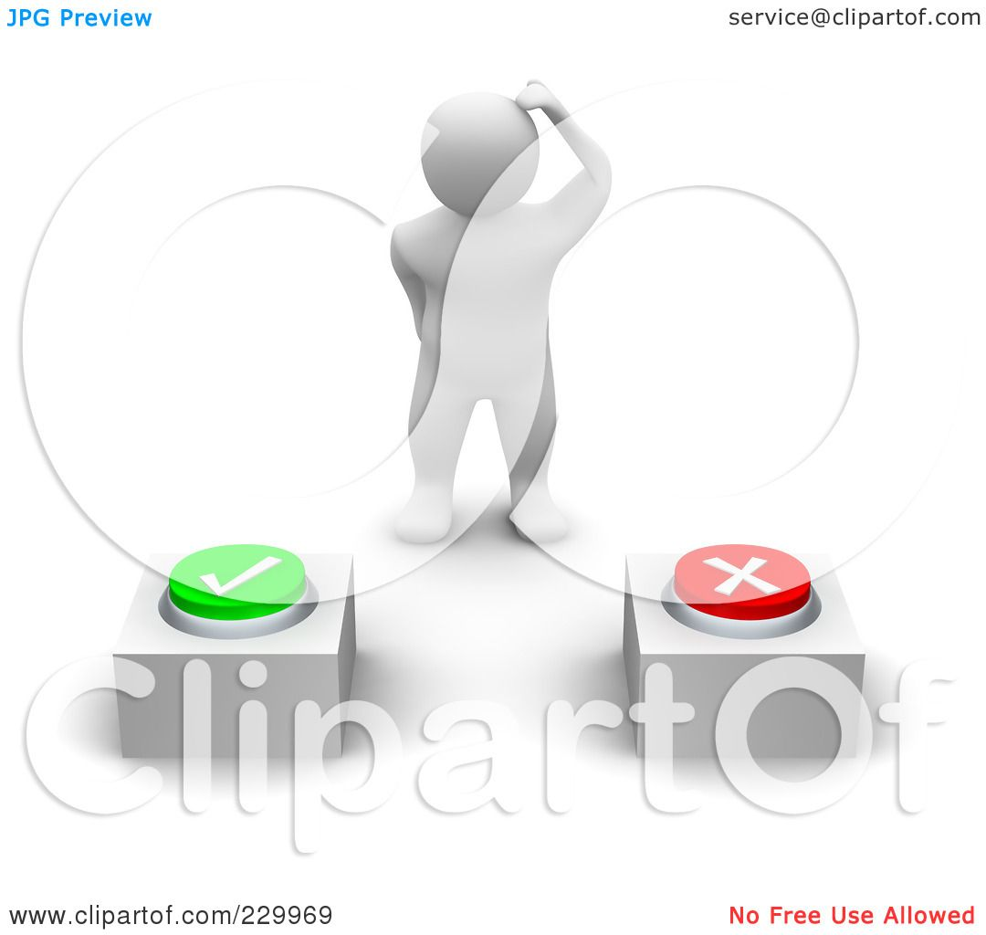Deciding stock illustrations royalty free gograph - Royalty Free Rf Clipart Illustration Of A 3d Blanco Man Trying To Decide Which Button To Press By Jiri Moucka