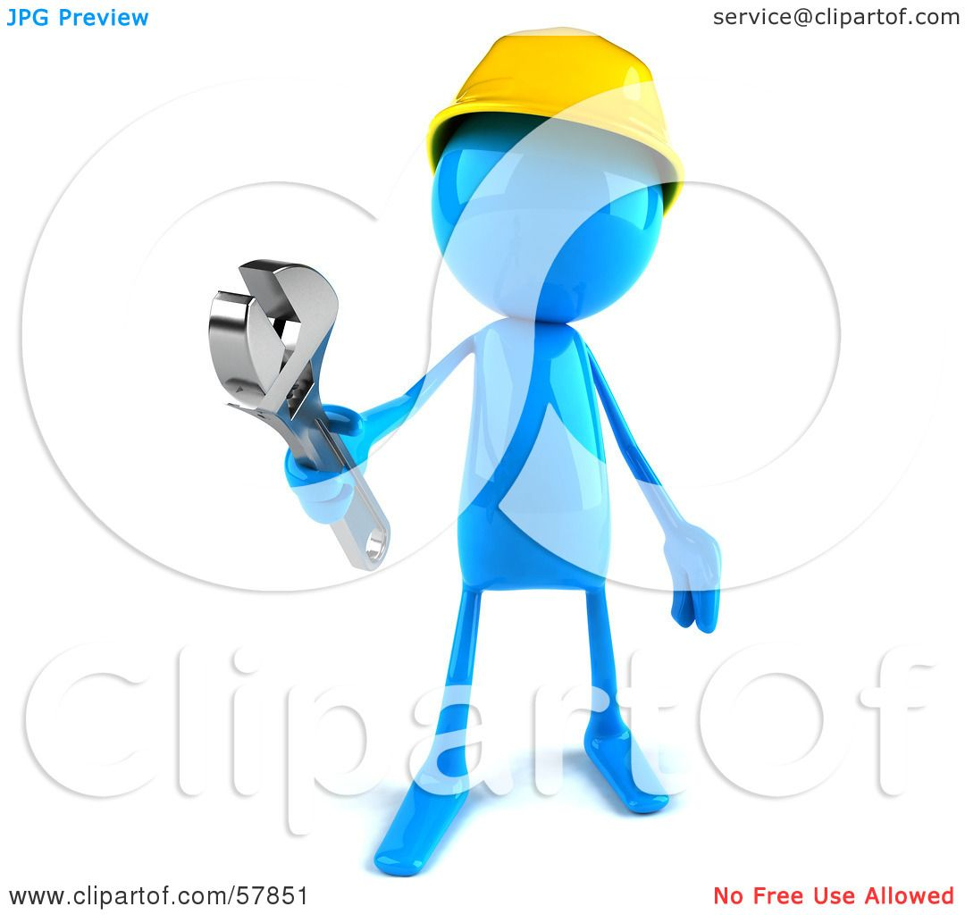 Royalty-Free (RF) Clipart Illustration of a 3d Blue Bob Builder ...