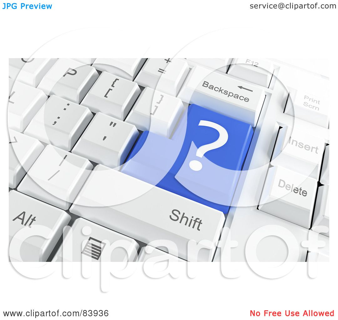 Royalty free rf clipart illustration of a 3d blue question mark