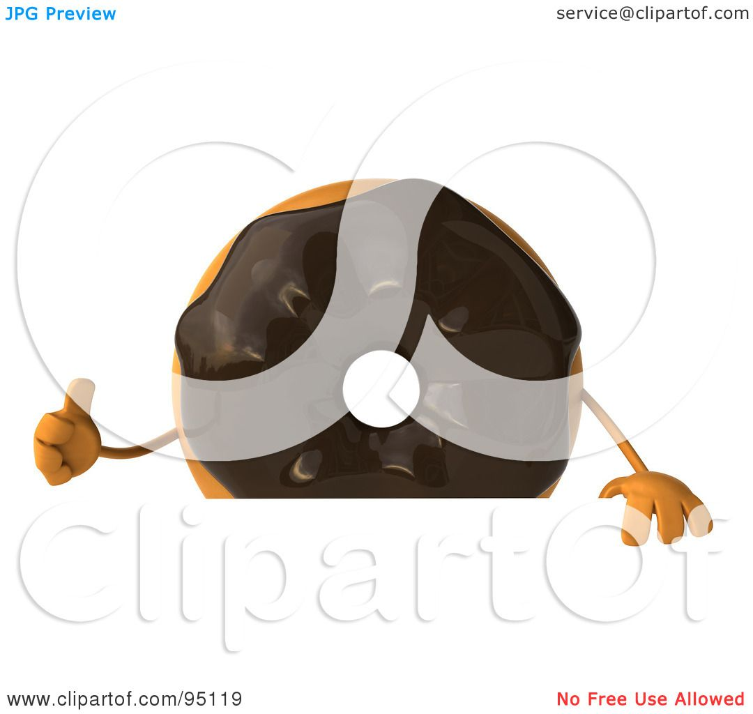 royalty free 3d clip art illustration of four 3d chocolate frosted