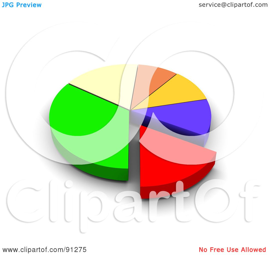 Royalty-Free (RF) Clipart Illustration of a 3d Colorful Pie Chart ...