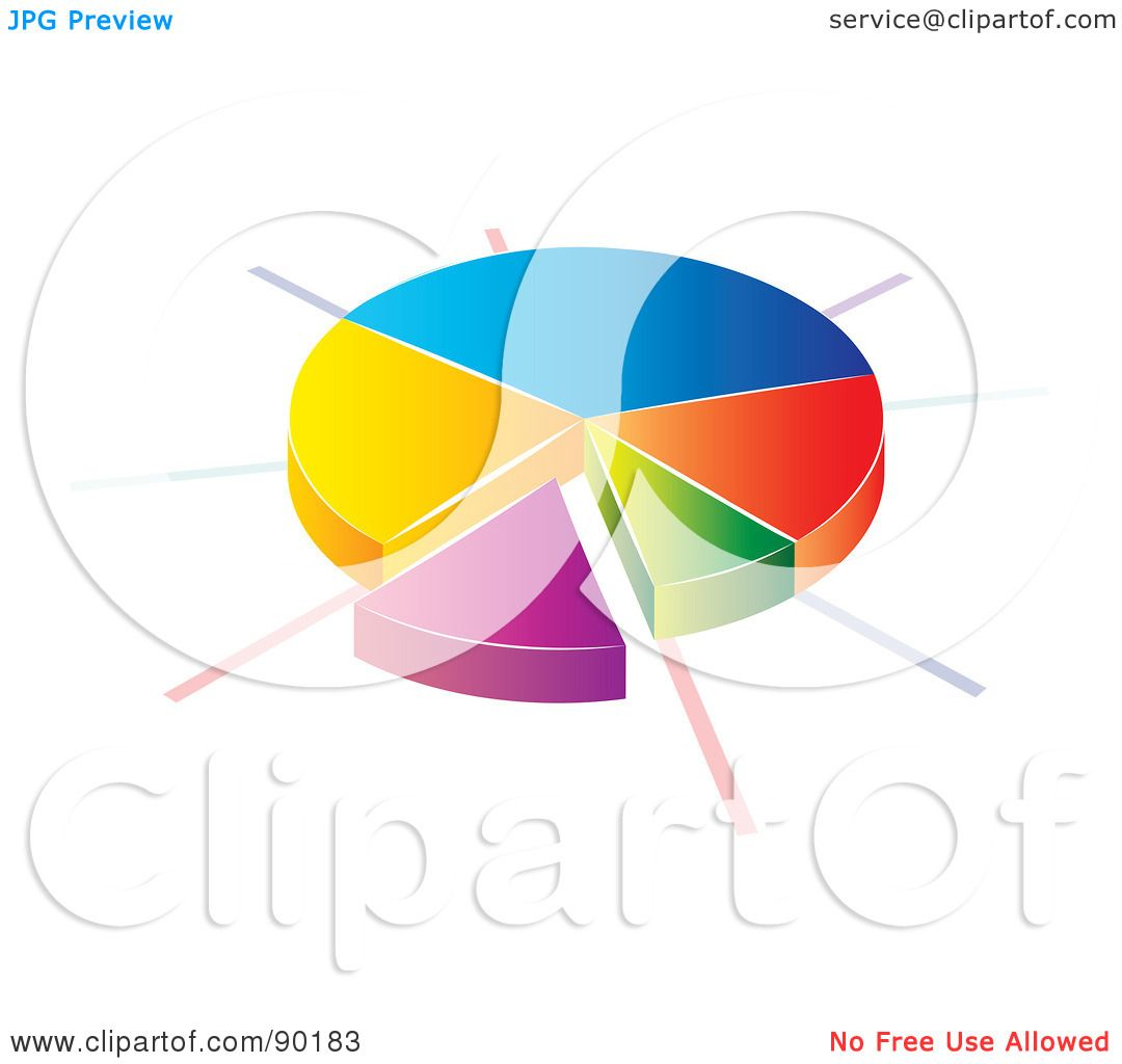 Royalty-Free (RF) Clipart Illustration of a 3d Divided Pie Chart ...