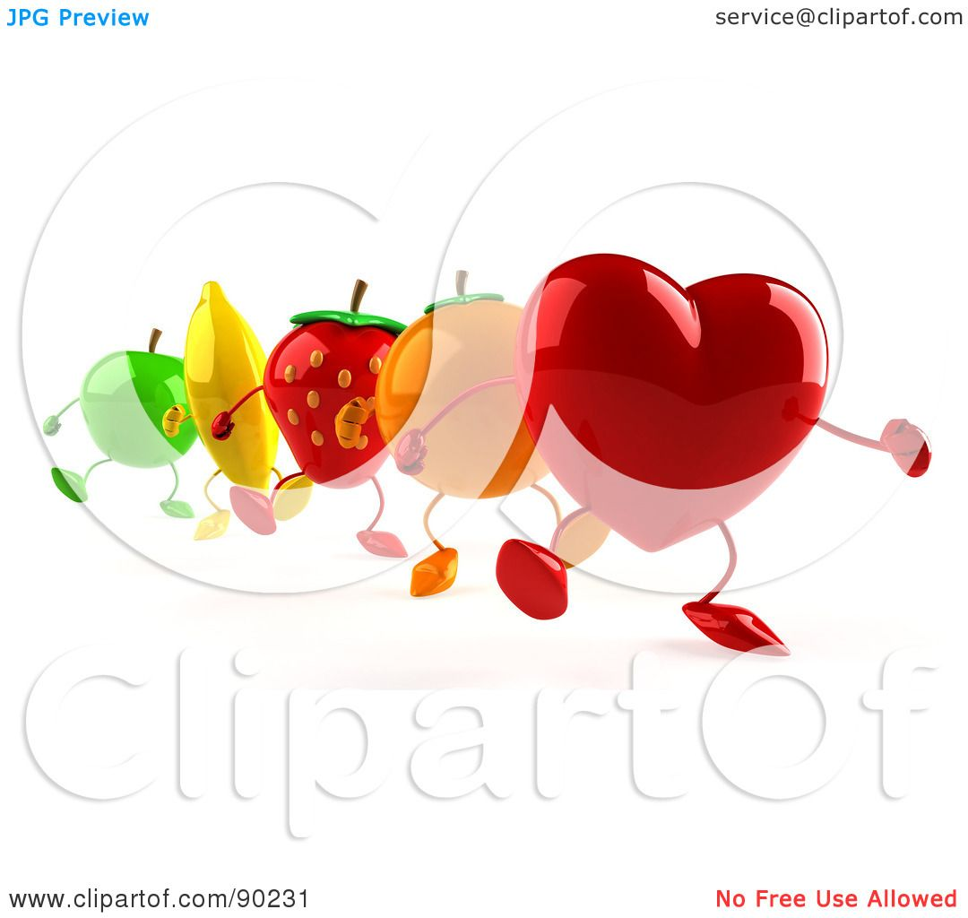 Royalty-Free (RF) Clipart Illustration of a 3d Heart With Healthy ...