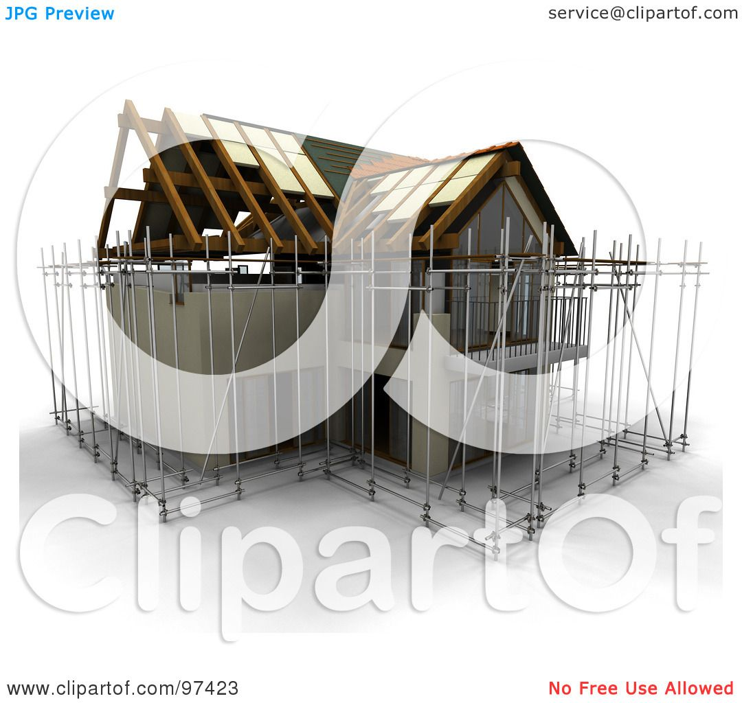 Royalty Free Rf Clipart Illustration Of A 3d Home Under Construction With Scaffolding By Kj Pargeter