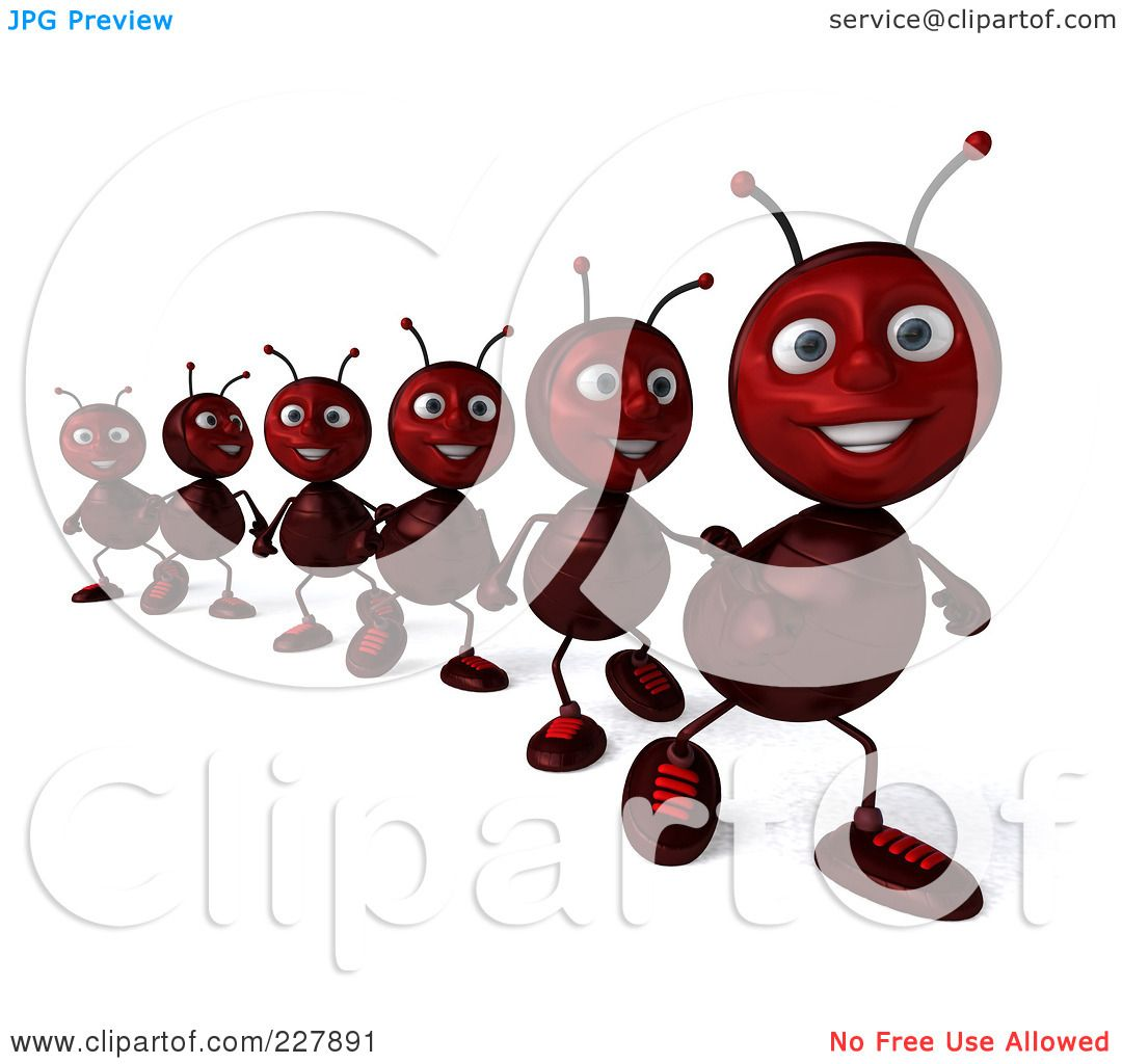 RoyaltyFree RF Clipart Illustration of a 3d Line Of Ants Marching 2 by Julos 227891