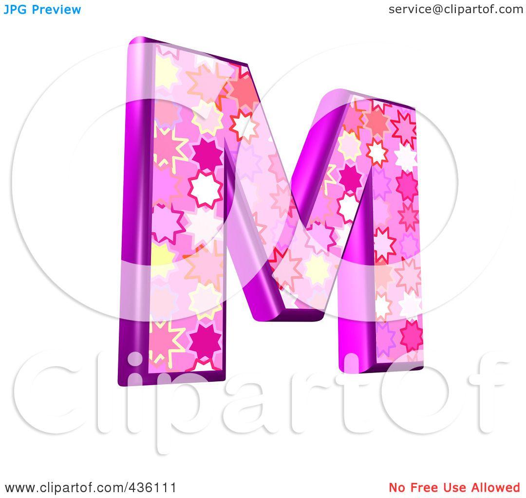 Capital Letter M Pink Burst Symbol Capital
