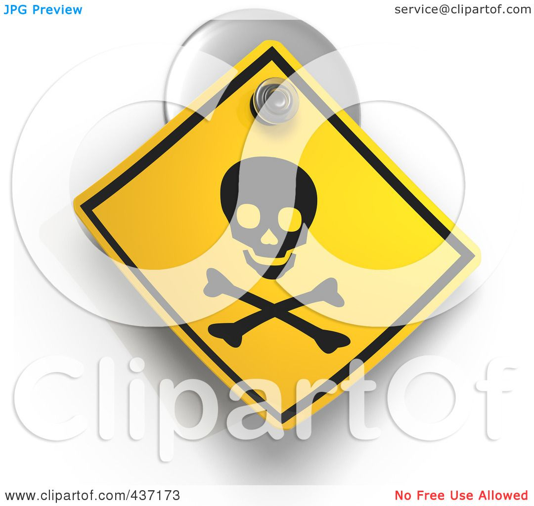 Illustration of a 3d Poison Warning Sign On A Suction Cup by Tonis ...