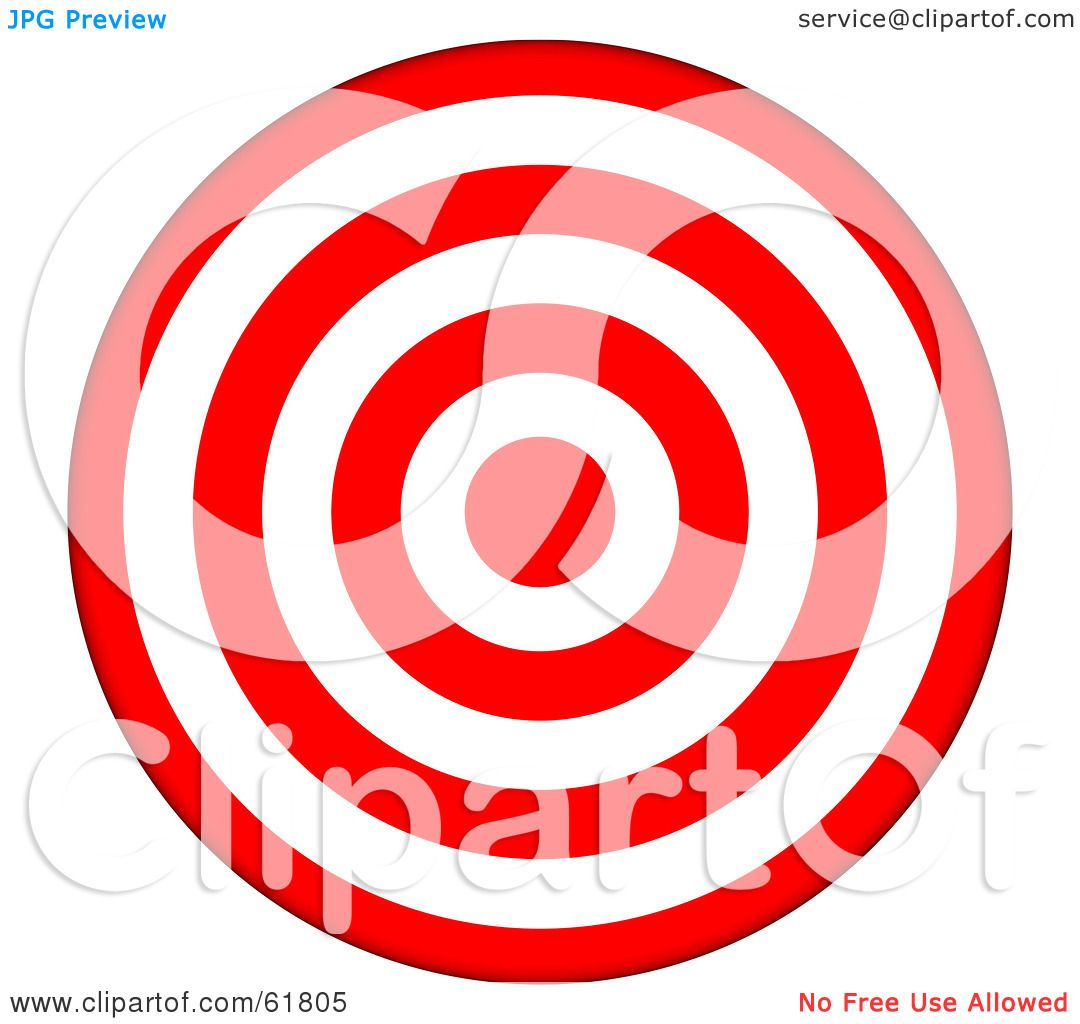 royalty free rf clipart illustration of a 3d red and white 7 ring rh clipartof com Bullseye Vector Bullseye Vector