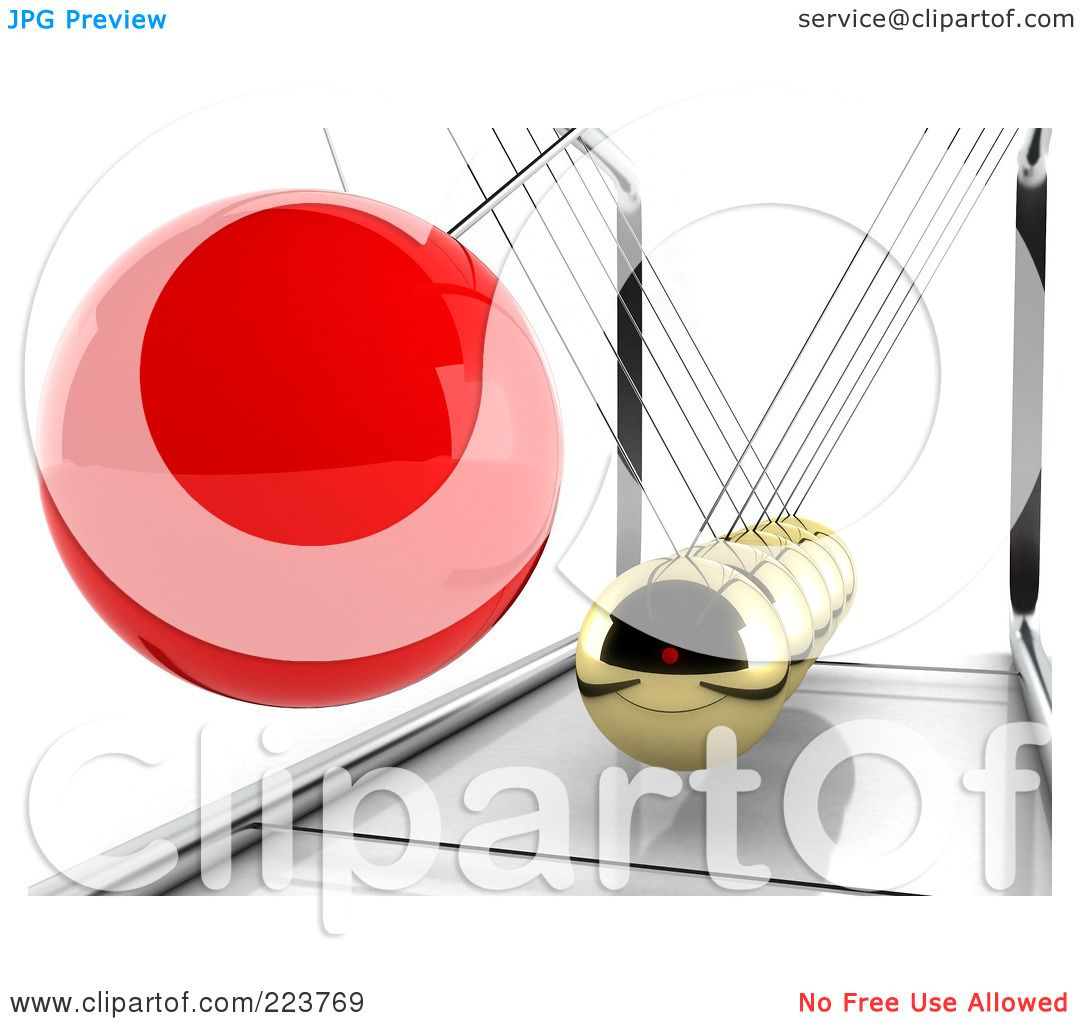 Royalty-Free (RF) Clipart Illustration of a 3d Red Pendulum Ball Swinging  Towards