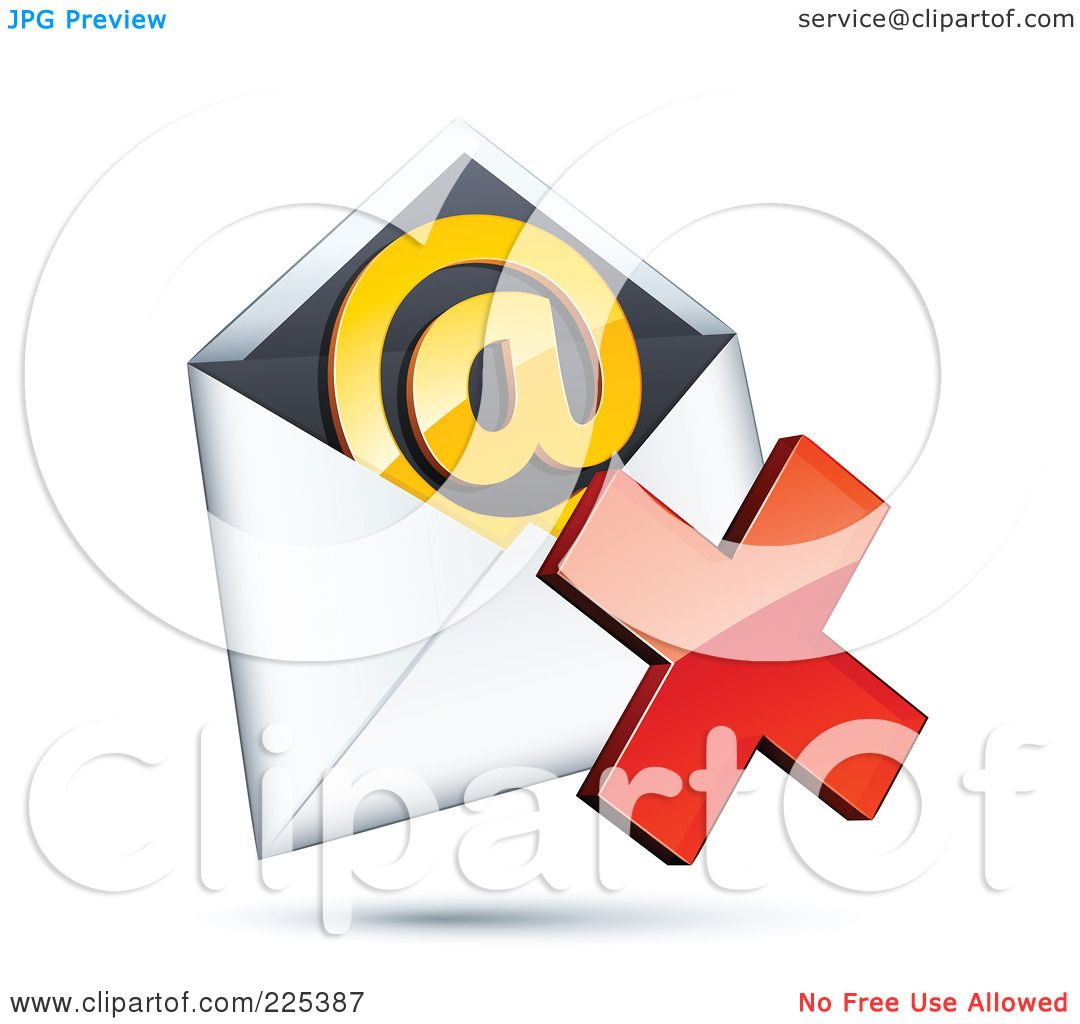 Royalty free rf clipart illustration of a 3d red x mark over an royalty free rf clipart illustration of a 3d red x mark over an envelope with an orange at symbol on a shaded white background by beboy buycottarizona