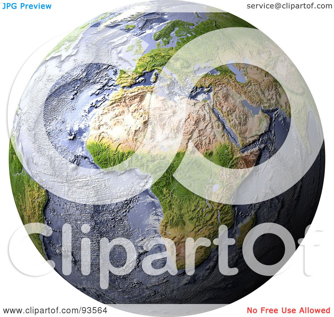 Royalty Free Rf Clipart Illustration Of A 3d Shaded Relief Globe