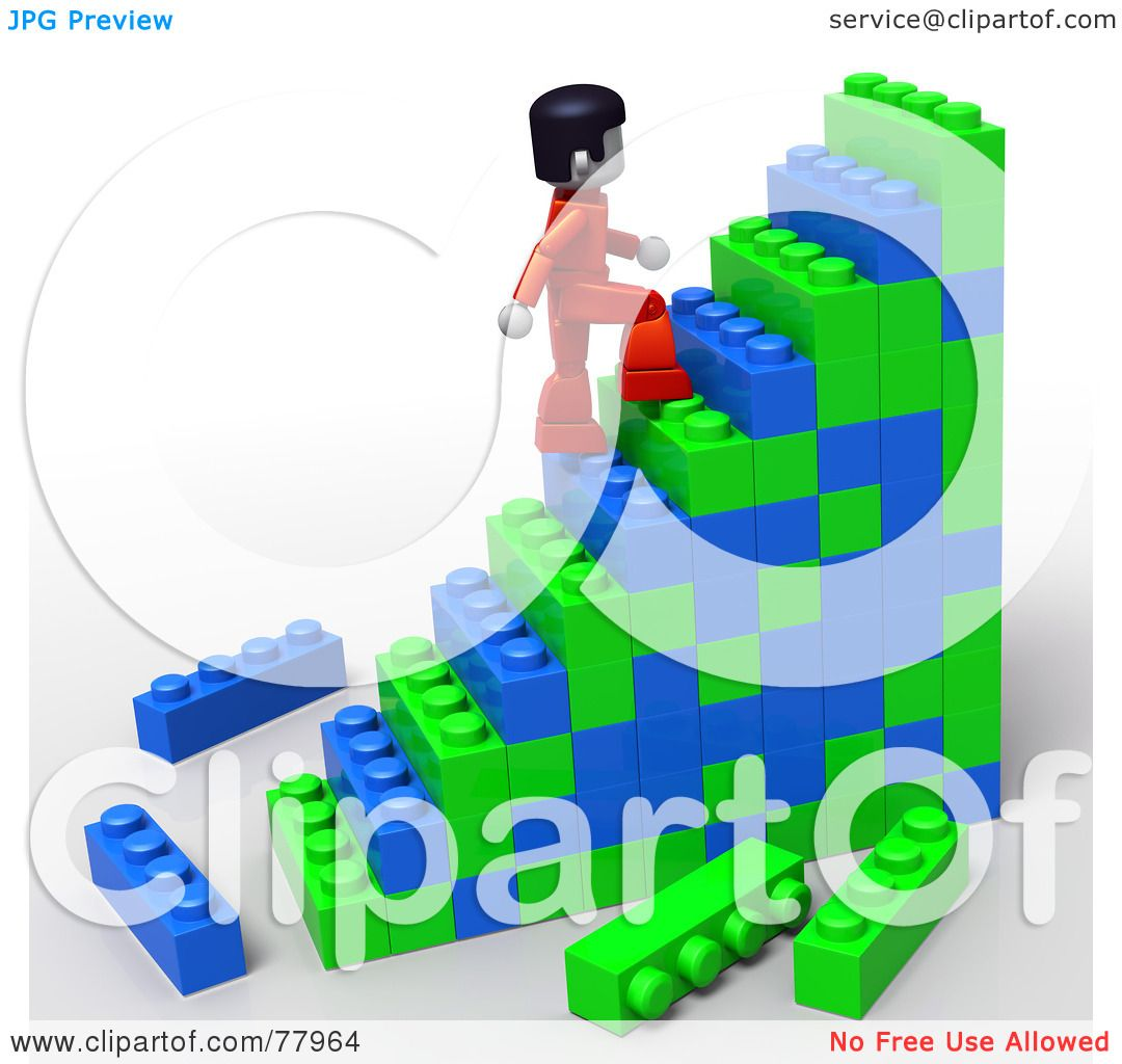 royalty free rf clipart illustration of a 3d toy person climbing building block stairs by. Black Bedroom Furniture Sets. Home Design Ideas
