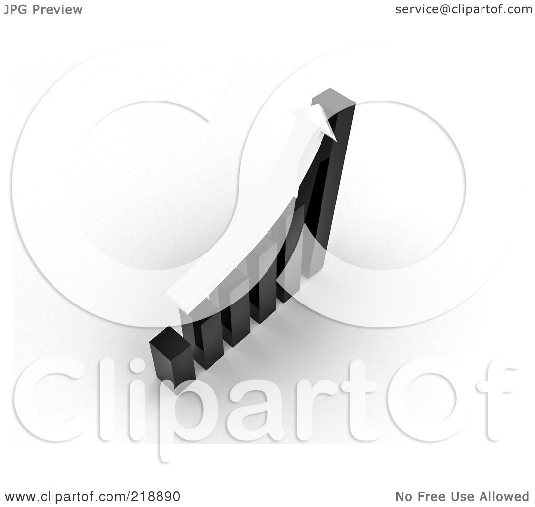 royalty-free (rf) clipart illustration of a 3d white arrow over a