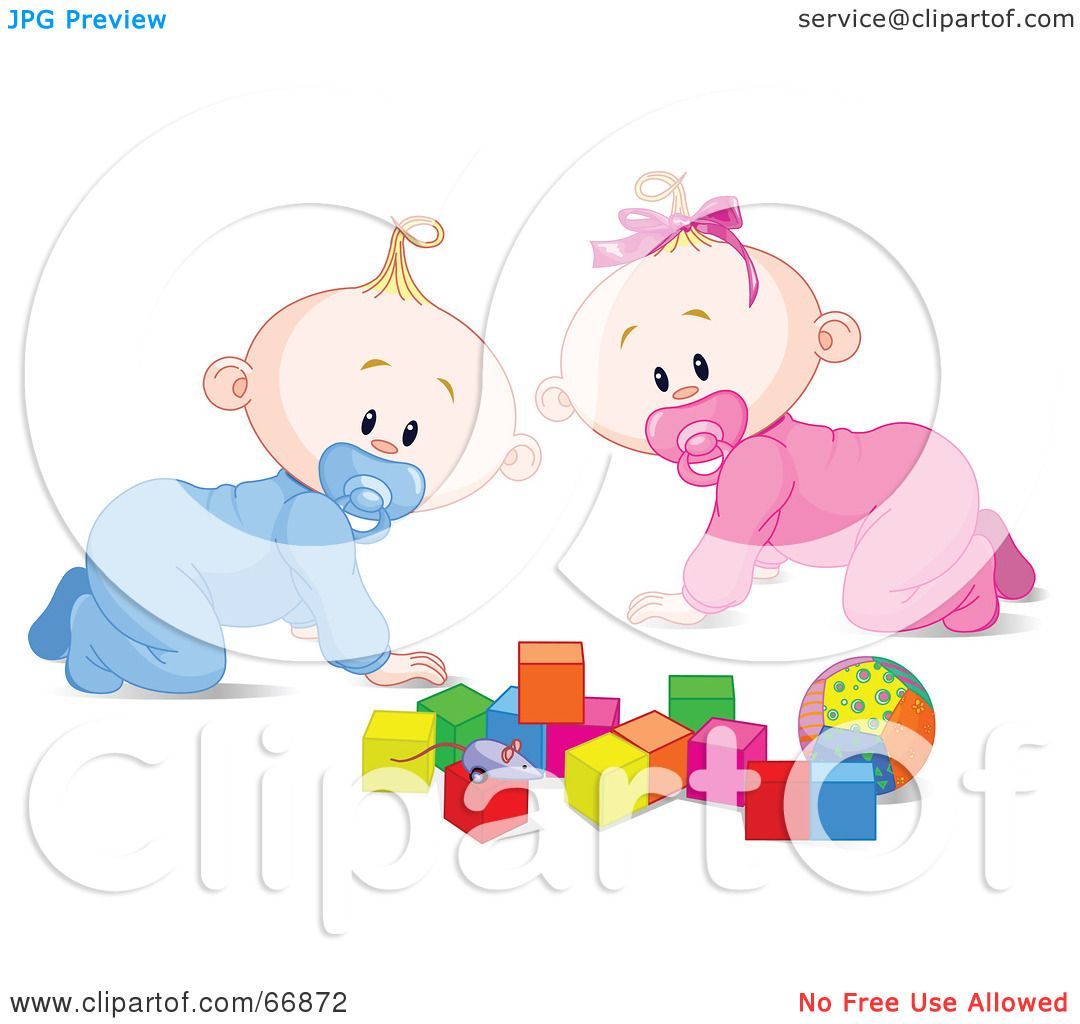 RoyaltyFree RF Clipart Illustration of a Baby Boy And