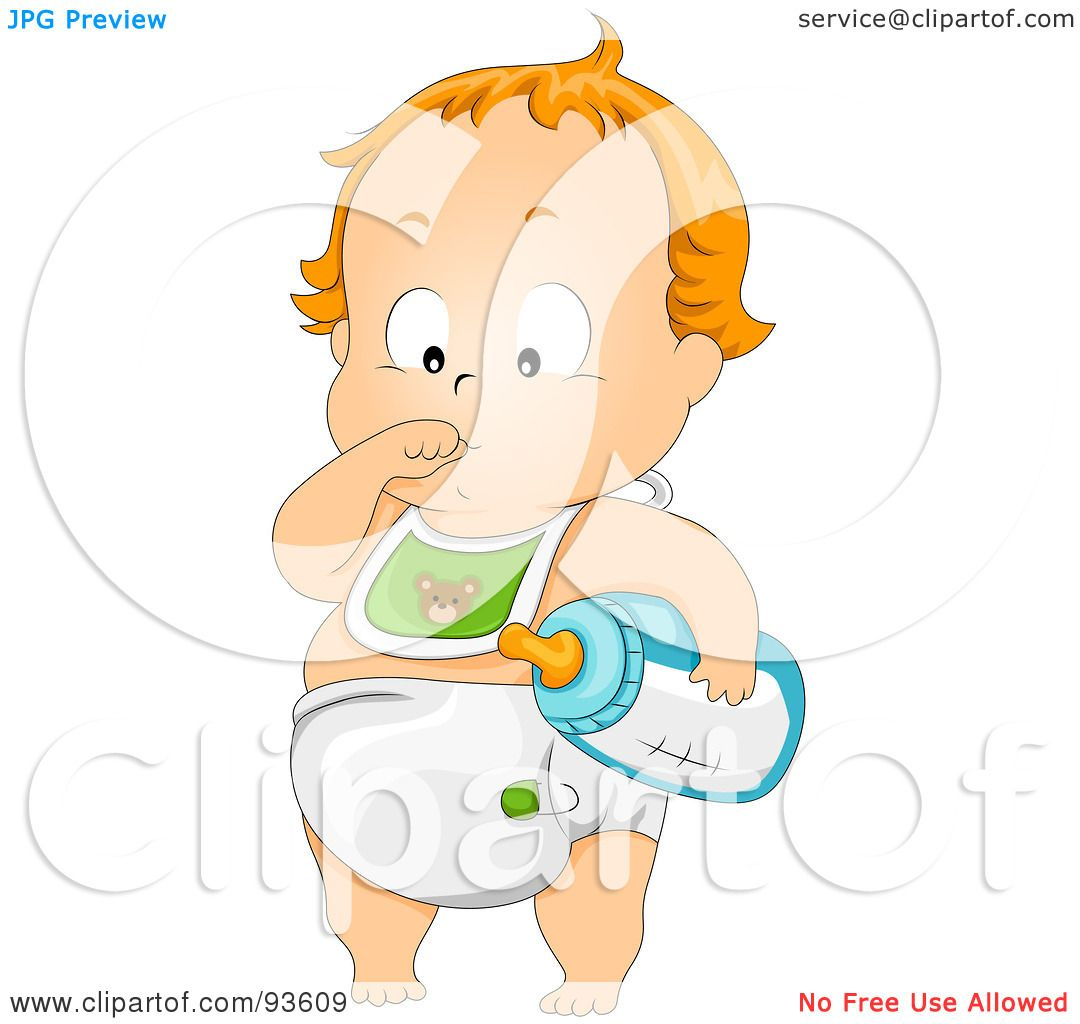 Royalty-Free (RF) Clipart Illustration of a Baby Boy In A Bib And ...