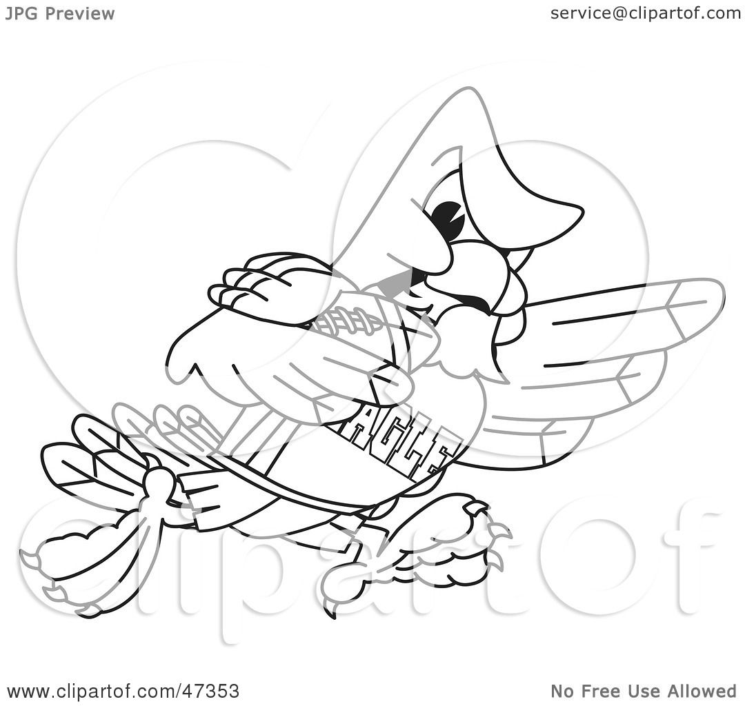 Eagle football coloring pages - Royalty Free Rf Clipart Illustration Of A Bald Eagle Hawk Or Falcon Football Player Outline By Toons4biz