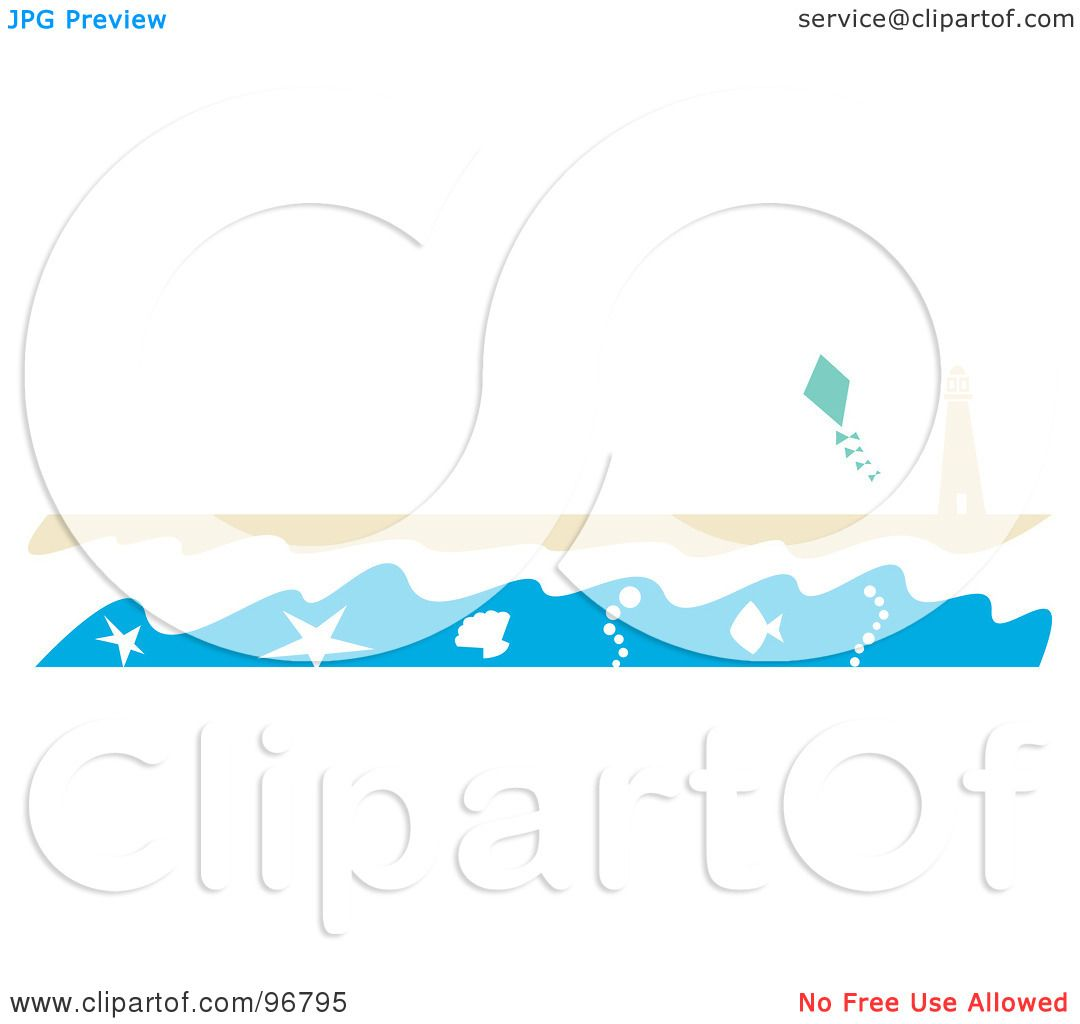 Royalty free rf clipart illustration of a beach website header or royalty free rf clipart illustration of a beach website header or border with the surf washing up near a lighthouse on a beach and a kite in the sky by voltagebd Image collections