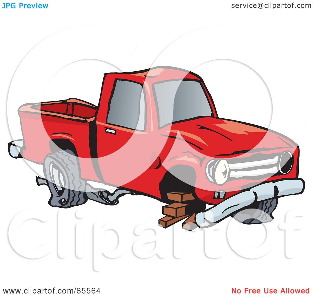 Green truck clipart royalty free rf pickup truck clipart - Royalty Free Rf Clipart Illustration Of A Beat Up Pickup Truck Balanced On Bricks By Dennis Holmes Designs