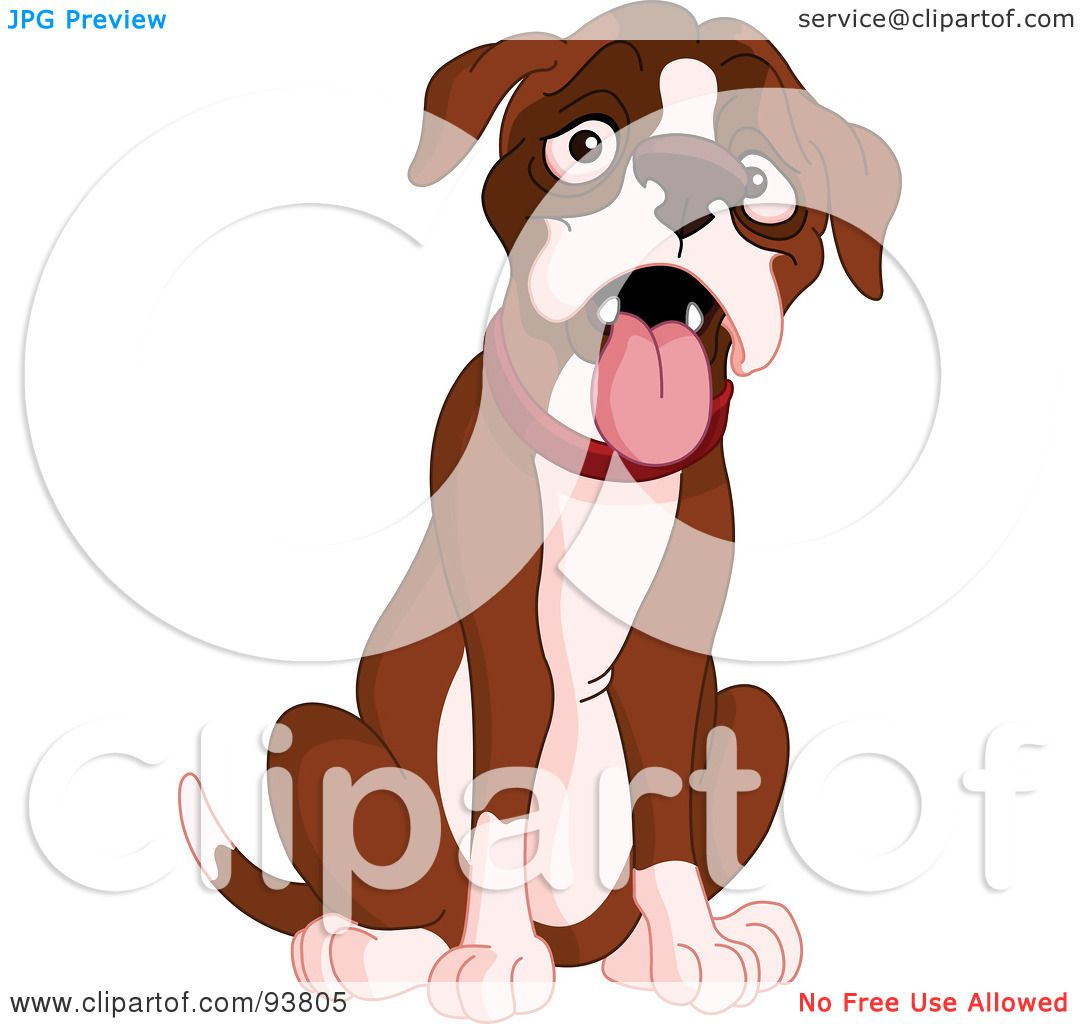 Royalty-Free (RF) Clipart Illustration of a Behaved, Cute Boxer ...