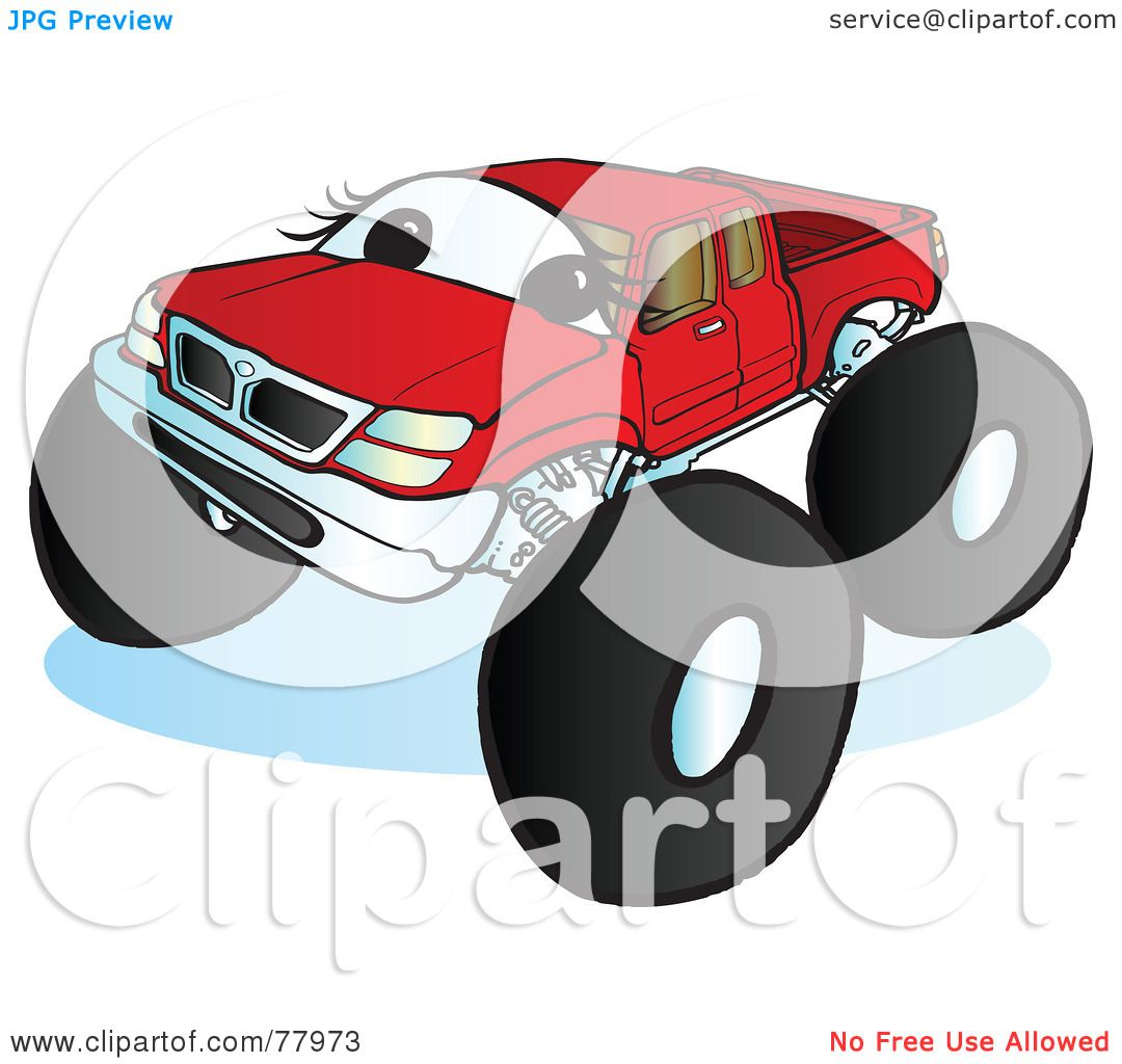 Green truck clipart royalty free rf pickup truck clipart - Royalty Free Rf Clipart Illustration Of A Big Red Monster Truck With A Face By Snowy