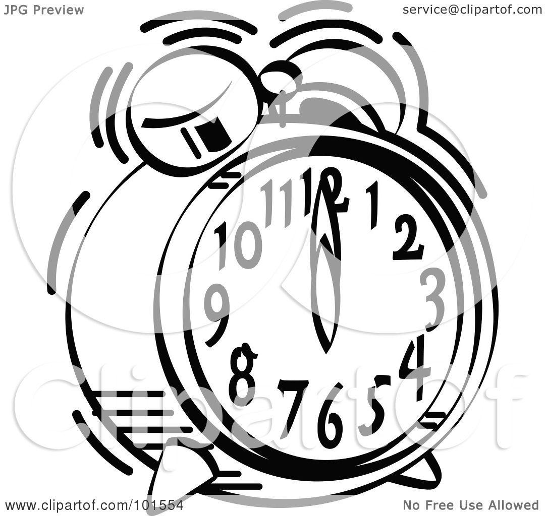 alarm clock ringing drawing. royaltyfree rf clipart illustration of a black and white alarm clock ringing at 12 o by andy nortnik drawing