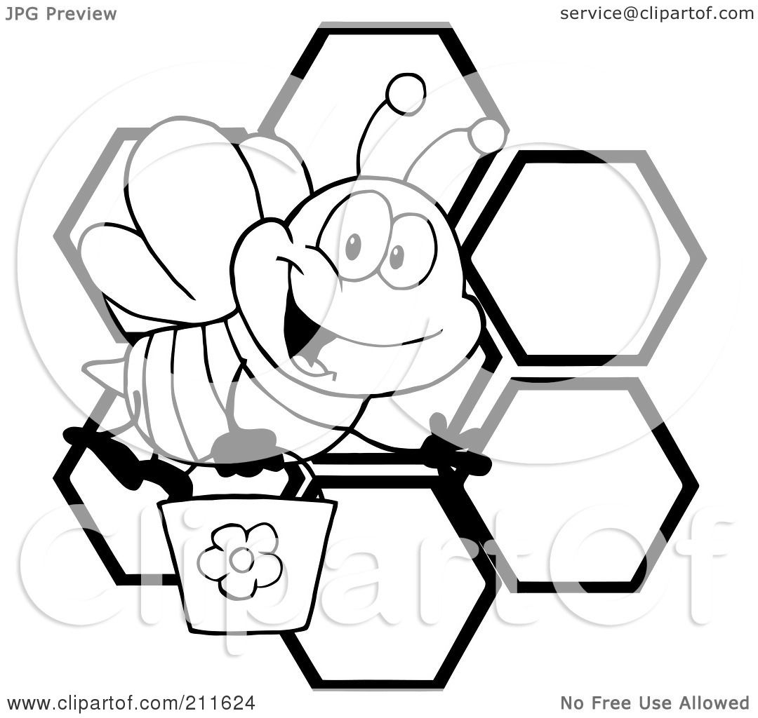 Free Bee Clipart Black And White of a Black And White Bee