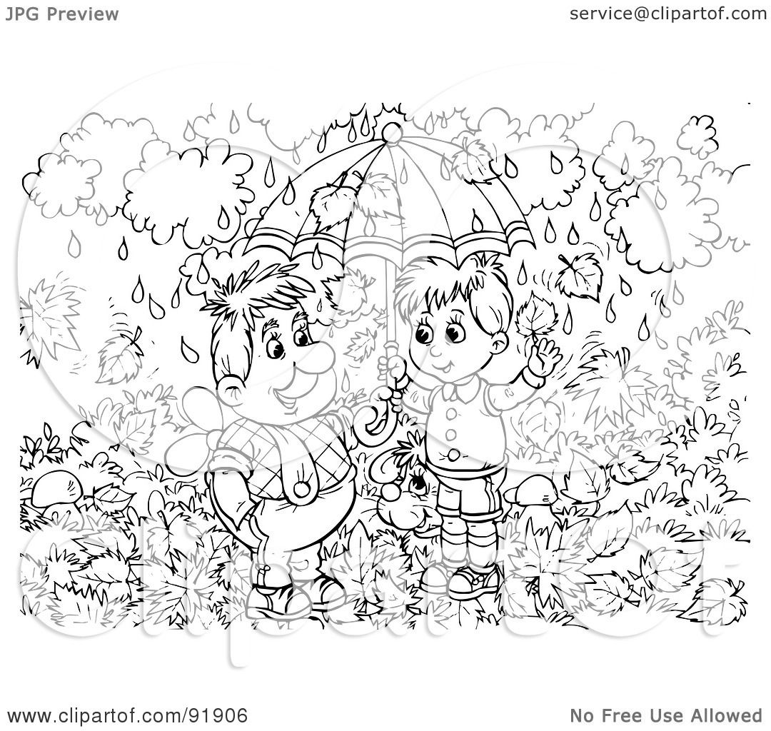 Rain Coloring Pages: Royalty-Free (RF) Clipart Illustration Of A Black And