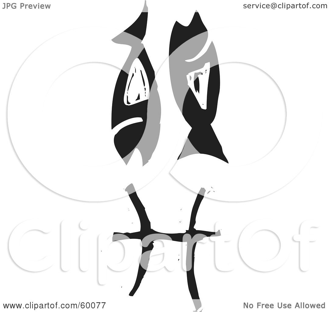 Royalty Free RF Clipart Illustration Of A Black And White Carved Pisces Zodiac Symbol By Xunantunich