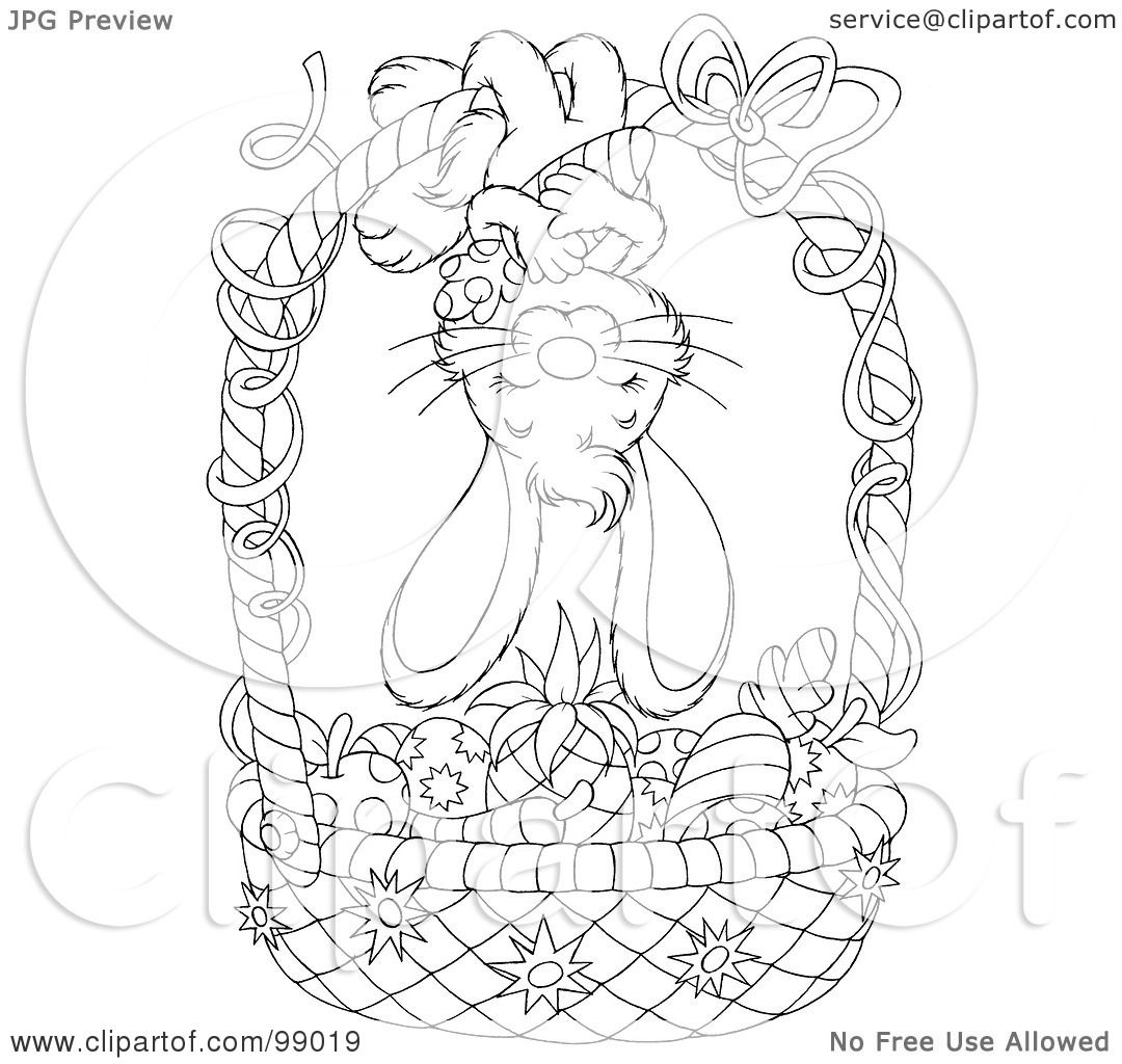 Royalty Free RF Clipart Illustration A Black And White Coloring Page Outline A Bunny Hanging Upside Down An Easter Basket Colored Veggies