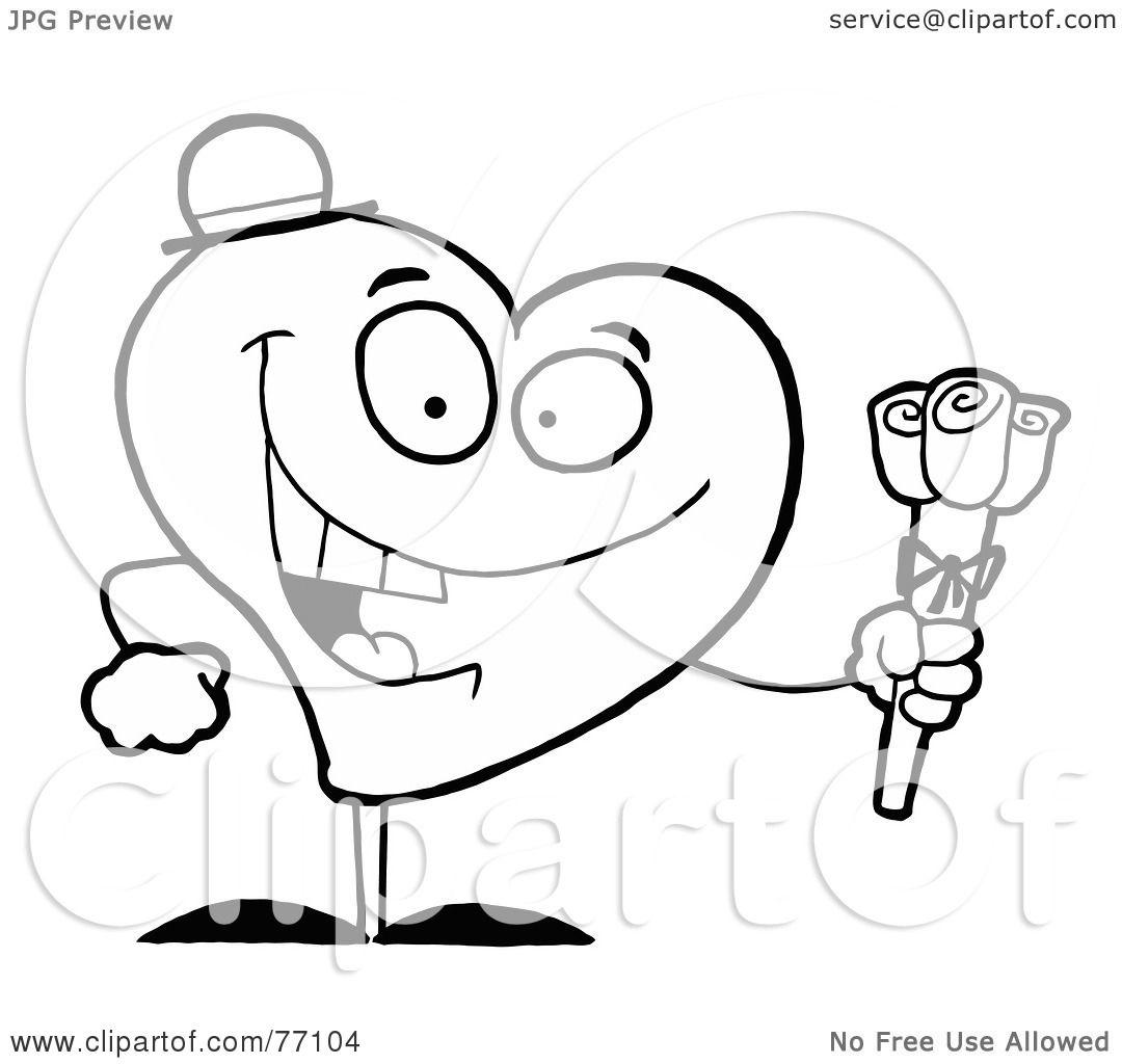 Черный и белый раскраски странице краткое изложение A сладкие сердца, давая роз.