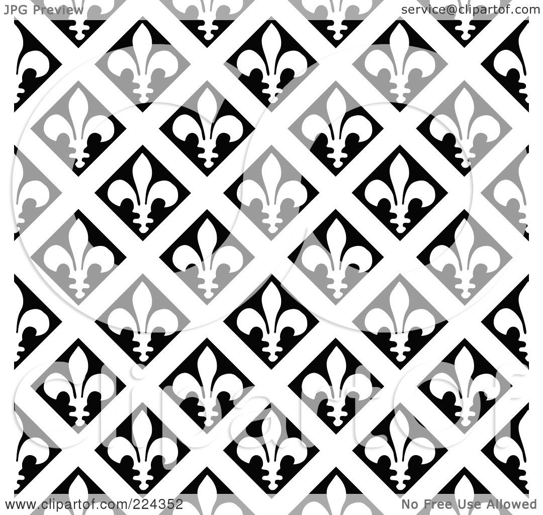Royalty-Free (RF) Clipart Illustration of a Black And White Fleur ...