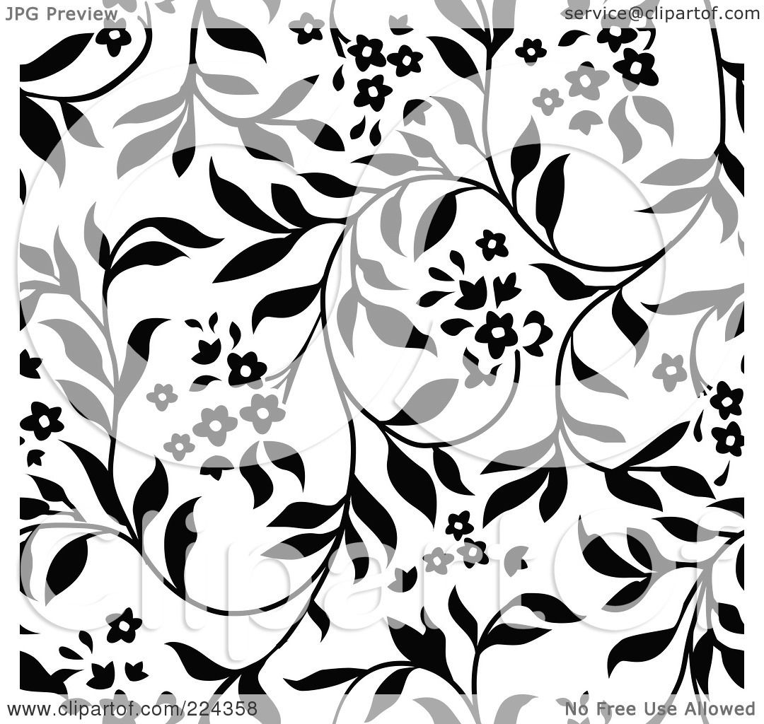 Royalty Free Rf Clipart Illustration Of A Black And White Floral