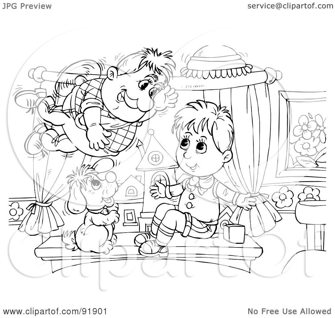 Royalty free rf clipart illustration of a black and for Flyers coloring pages