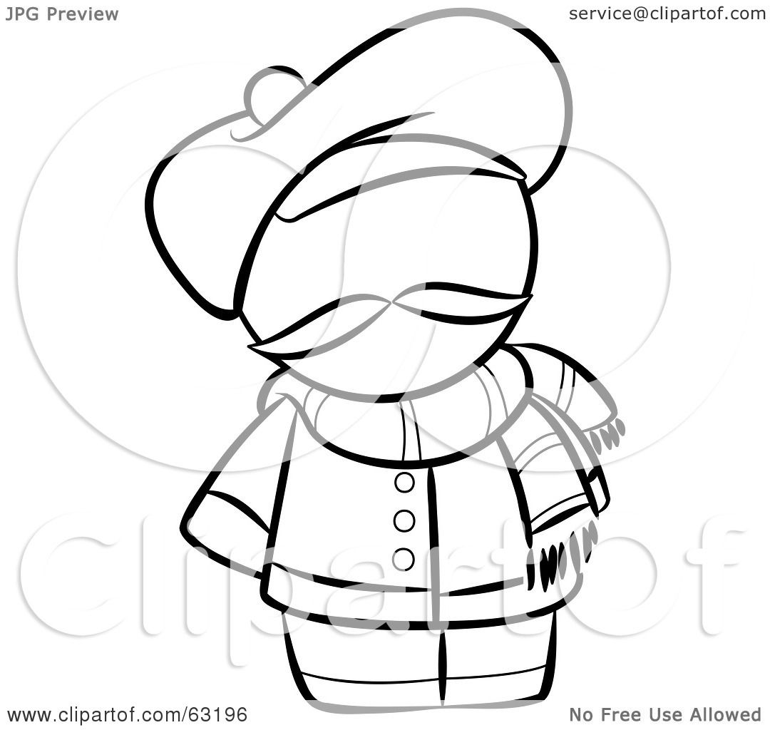 Royalty Free Rf Clipart Illustration Of A Black And White Human Factor French Man With A Hat And Scarf By Leo Blanchette 63196