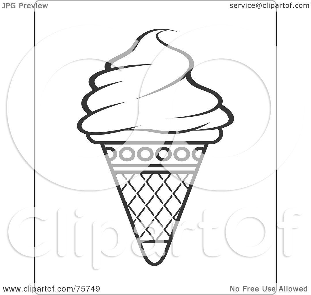 of a Black And White Ice Cream Cone Coloring Page Design by Lal PereraIce Cream Cones Black And White