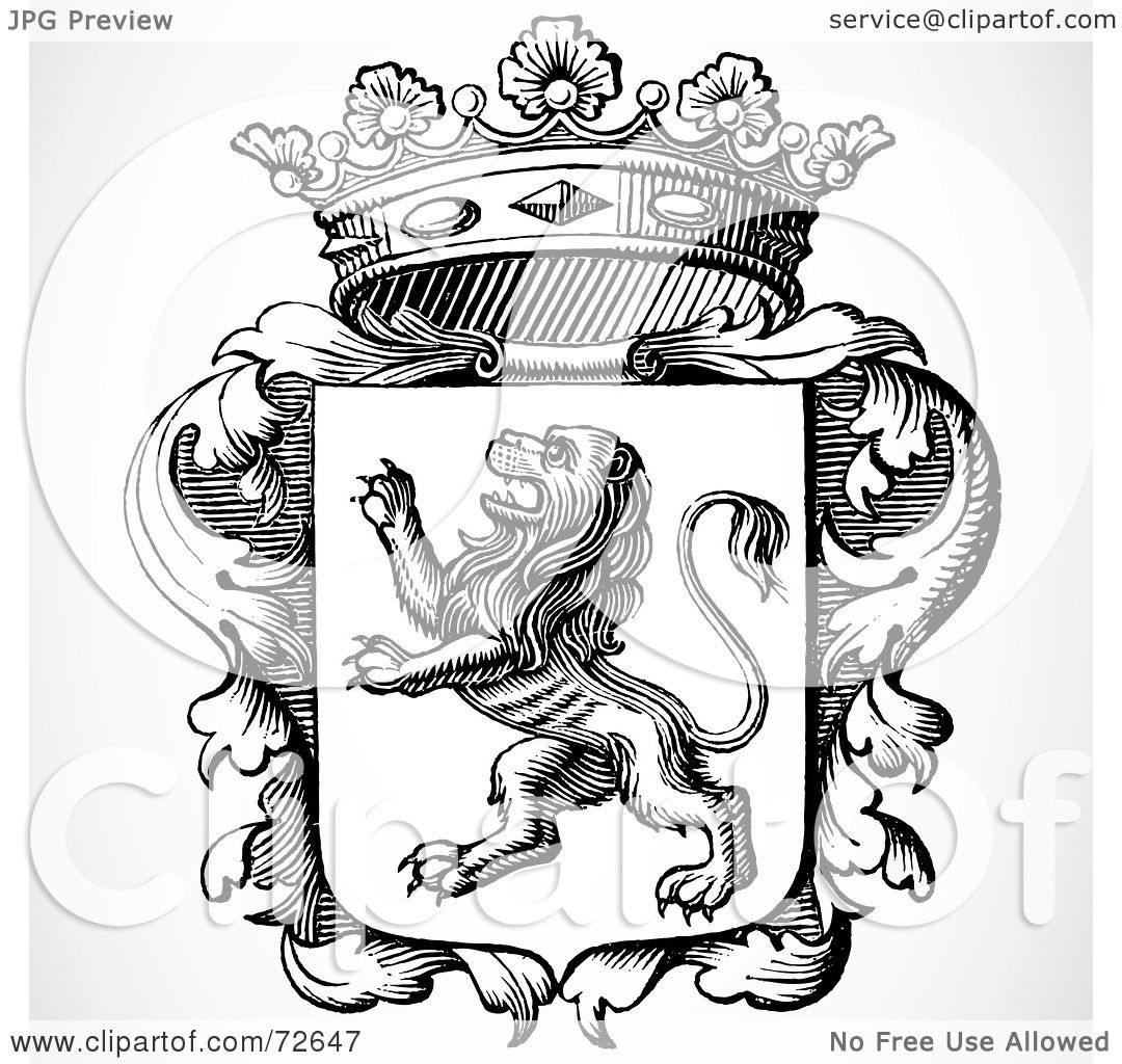 ... of a Black And White Lion Shield With Leaves And A Crown by BestVector